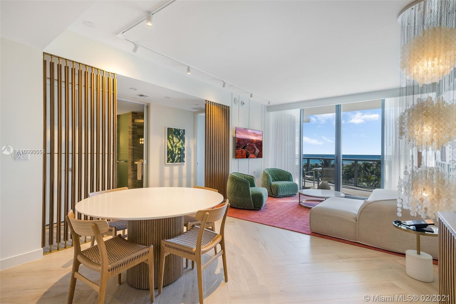 2 of the finest condos at W South Beach. Just renovated and  furnished with new W look. One of a kind combination Oasis Suite and Wonderful Studio, w/custom lockout door.  Best 2 bed + den layout and location in the building. Offers great flexibility; use together, separate, personal use, enter rental program, or rent yourself or a combination to suit your needs. This unique opportunity was handpicked & assembled by one of the 1st pre-construction buyers. 2415 sq ft of south facing living space comprised of 1715 sqft indoor plus 500 sqft extended terrace, very private with no neighbors on either side. Provides an uninterrupted indoor/outdoor flow, all day sun & stunning ocean views.  Owner was able to negotiate a dedicated parking spot on the same floor (6th), which only a few units have.