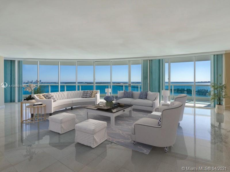 """Direct Biscayne Bay views from sought after """"01"""" line in Ugo Colombo's boutique Bristol Tower. Private foyer elevator opens to over 3,000 sf of expansive interior space with ample rooms, floor to ceiling windows with new blinds in living areas and marble floors throughout. Snaidero cabinets and new granite counter tops in the kitchen that opens to a spacious & a nearly 1,000 sf wrap-around terrace w/ views to the Atlantic Ocean, Biscayne Bay and So. Beach. Direct access to terrace from every bedroom, living/dining/family great room. Large laundry area & separate den/office. Pool/Jacuzzi, BBQ and Bar area, new gym & spa, Children play rm, Lighted tennis court, Market/cafe, valet parking + 2 covered parking spaces & storage unit."""