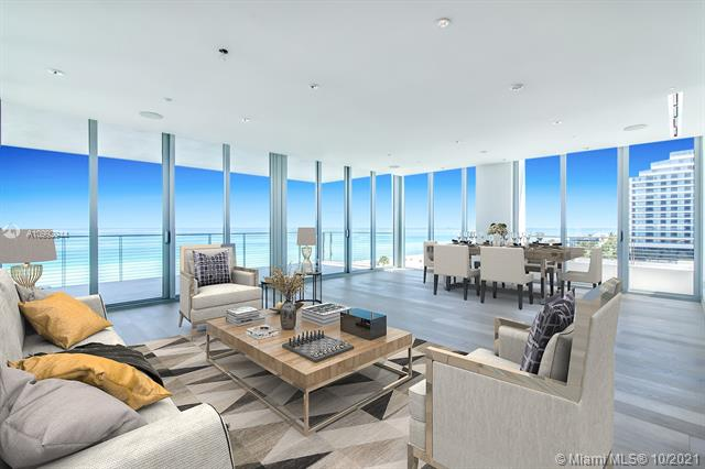 With only 8 units in the building, 1 p flr, Beach House 8 is the most luxurious boutique condo in Miami Beach. Unit 700 is the first one to clear the bldg to the S, & the views span unobstructed from the Ocean to the Miami skyline. The 2 elevators open directly into the middle of the residence offering views of the ocean. Floor to ceiling sliding doors frame the entire apartment. On the ocean side is the living/dining area w a deep terrace w dazzling water views. The custom Boffi kitchen has Calacatta gold marble slabs, 2 refrigerators, 2 dishwashers, wine cooler & a gas stove. The N side of the residence has 3 en-suite bedrooms & to the W a luxurious master ste w his/her walk-in-closets, a sophisticated bath w/dual sinks, soaking tub, dual steam showers & his/hers water closets w/bidets.
