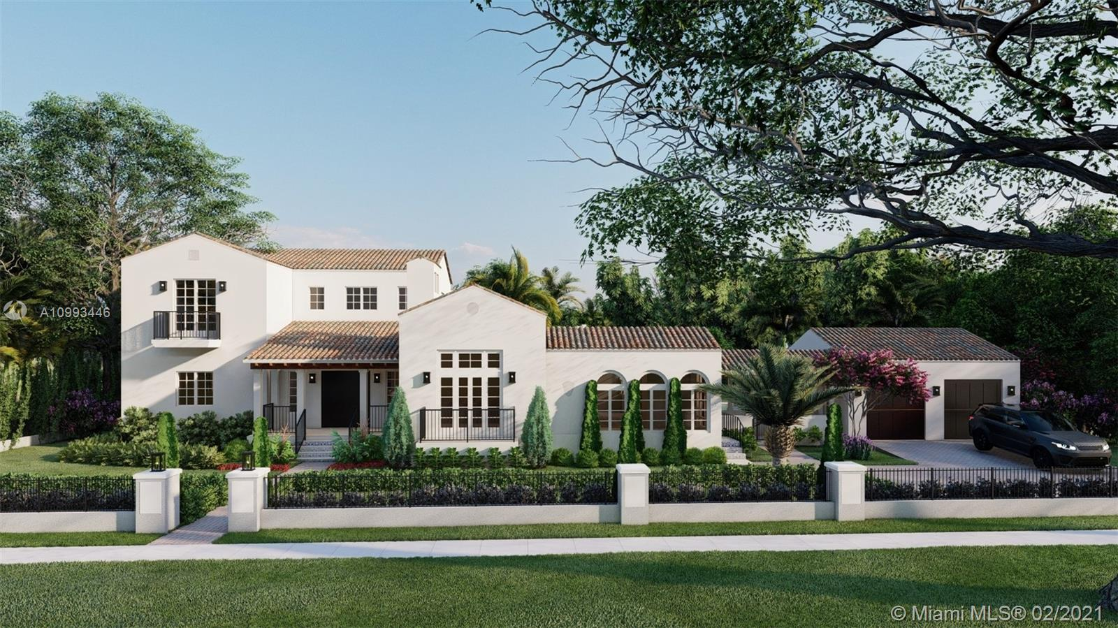 A modern twist on the Mediterranean Revival Architecture that inspired the Coral Gables neighborhood, La Bella Valencia is a newly built, generator ready home embodying ideal Mediterranean style w/ contemporary touches. The property's 18,750 sq ft lot is a coveted rarity in the Coral Gables area. Custom kitchen includes Monogram & Wolf appliances, Miele built-in coffee machine & wine cellar. Adding to the home's unique features is a den with a historic library showcasing a stone encased gas fireplace. The owner's suite is a balcony w/ pool views & spacious bath w/ a Toto toilet, soaking tub, waterfall showerheads, double sinks, & walk-in closet. Enjoy an outdoor terrace w/ a summer kitchen & spa, creating the perfect outdoor living experience. This abode offers privacy & prime location!