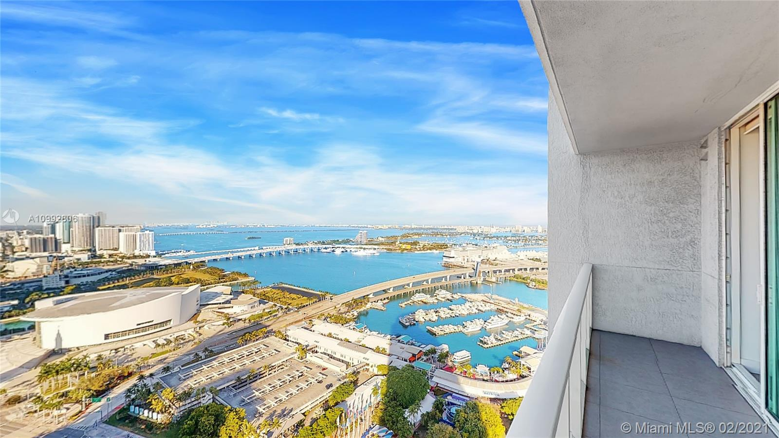 Experience Miami Downtown luxury living at its best. Wake up to extraordinary bay views from every room. Go for a coffee across the street at Bayside Marketplace. Walk to Metromover station for an aerial path to your Miami destination. All from a two beds and two full baths unit with ample balcony facing the Bay, Bayside Marketplace and American Airlines Arena.