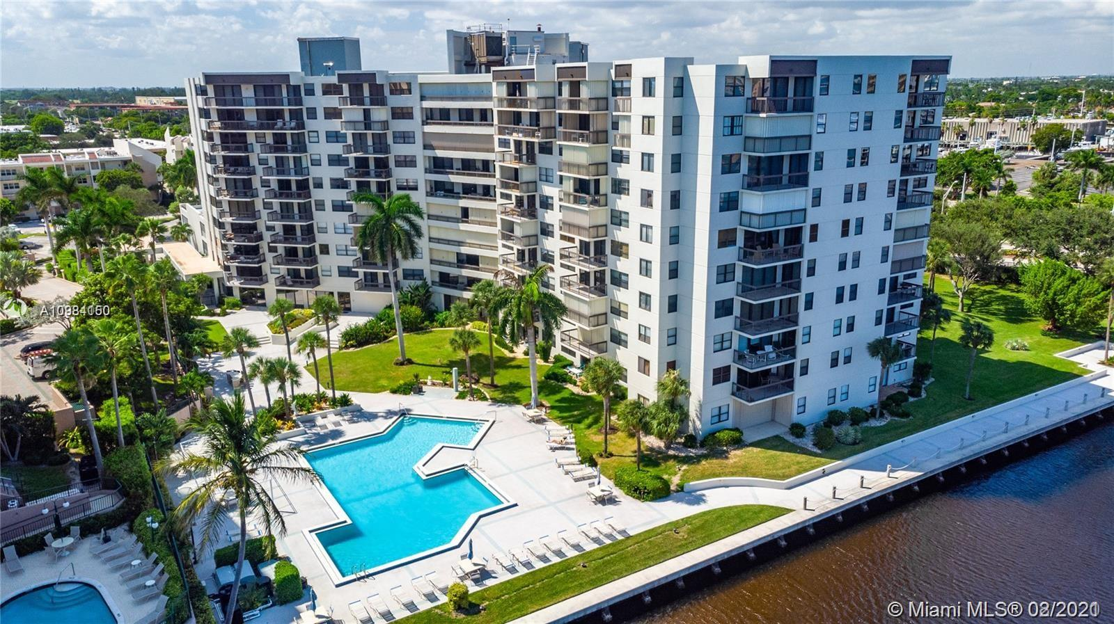HUGE CONDO (1750 sqf approx) WITH OVERSIZED 40 FT BALCONY SPANNING ENTIRE UNIT FACING SOUTH AND EAST. GARDEN, POOL AND INTRACOASTAL VIEWS. FEELS LIKE A HOME SURROUNDED BY LUSH GREEN SPACES. COME WATCH THE BOATS. BEAUTIFUL FLOORS THROUGHOUT! LARGE OPEN KITCHEN, DINING & LIVING ALLOW FOR MAXIMUM LIGHT. MASTER BEDROOM HAS FURNISHED WALK IN CLOSET WITH BUILT-INS THAT COMPLIMENT THE HUGE EN-SUITE BATHROOM. SECOND LARGE BEDROOM WITH WALK-IN MAKES FOR THE PERFECT GUEST ROOM. LARGE LAUNDRY ROOM WITH WASHER AND DRYER IN UNIT. AMENITIES: PARTY ROOM, GYM, BILLIARD, 24 HR SECURITY, CABLE, AND COVERED PARKING. PET FRIENDLY UP TO TWO DOGS. BUILDING HAS BEEN RECENTLY RENOVATED AND KNOWN FOR ITS STYLE AND HIGH-END QUALITY LIFESTYLE. MINUTES TO THE BEACH! COME LIVE THE DREAM. THIS IS FLORIDA!