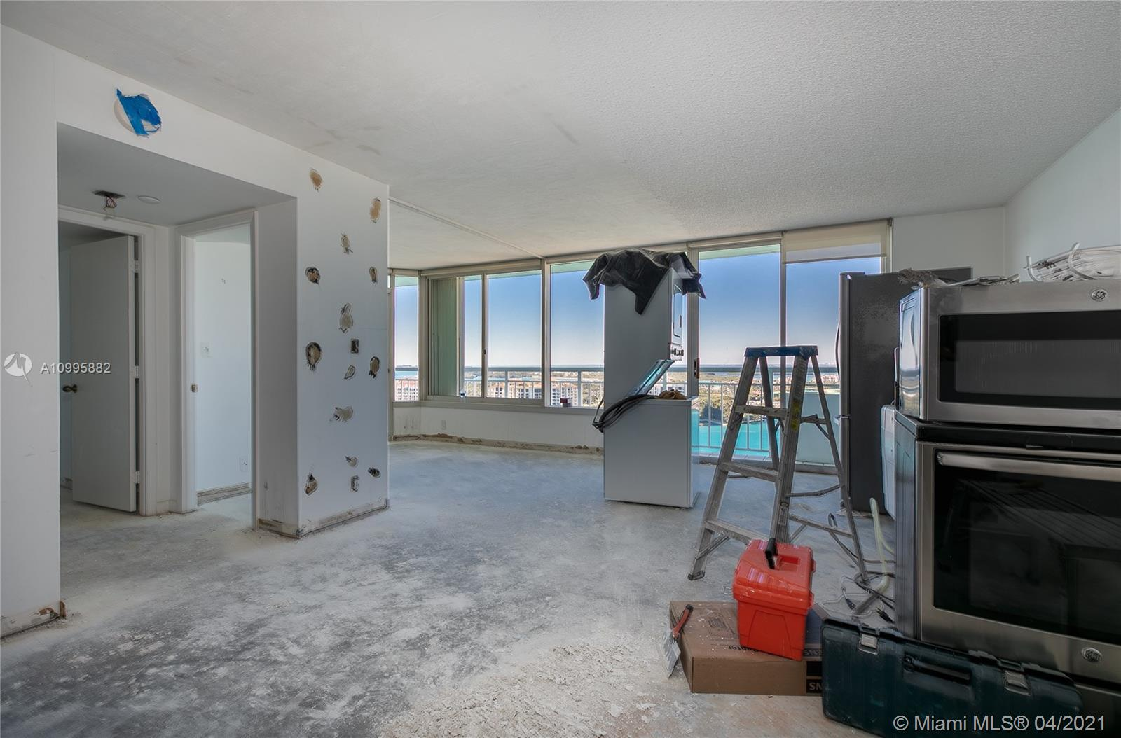 Unique opportunity to purchase 2 bedroom, 2 bath unit which is currently undergoing a gut renovation. The unit has been completely demolished and all permits have been issued. Unit will be sold as finished unit and is scheduled for completion in June. Unit is one a few 05 units to feature an extended balcony which allows for floor to ceiling windows. High floor views of Govt Cut, Fisher Island and Miami skyline. The building is in the final stages of a major renovation encompassing new pool deck, tennis courts, landscaping, interior hallways and fitness center. All assessments have been paid.