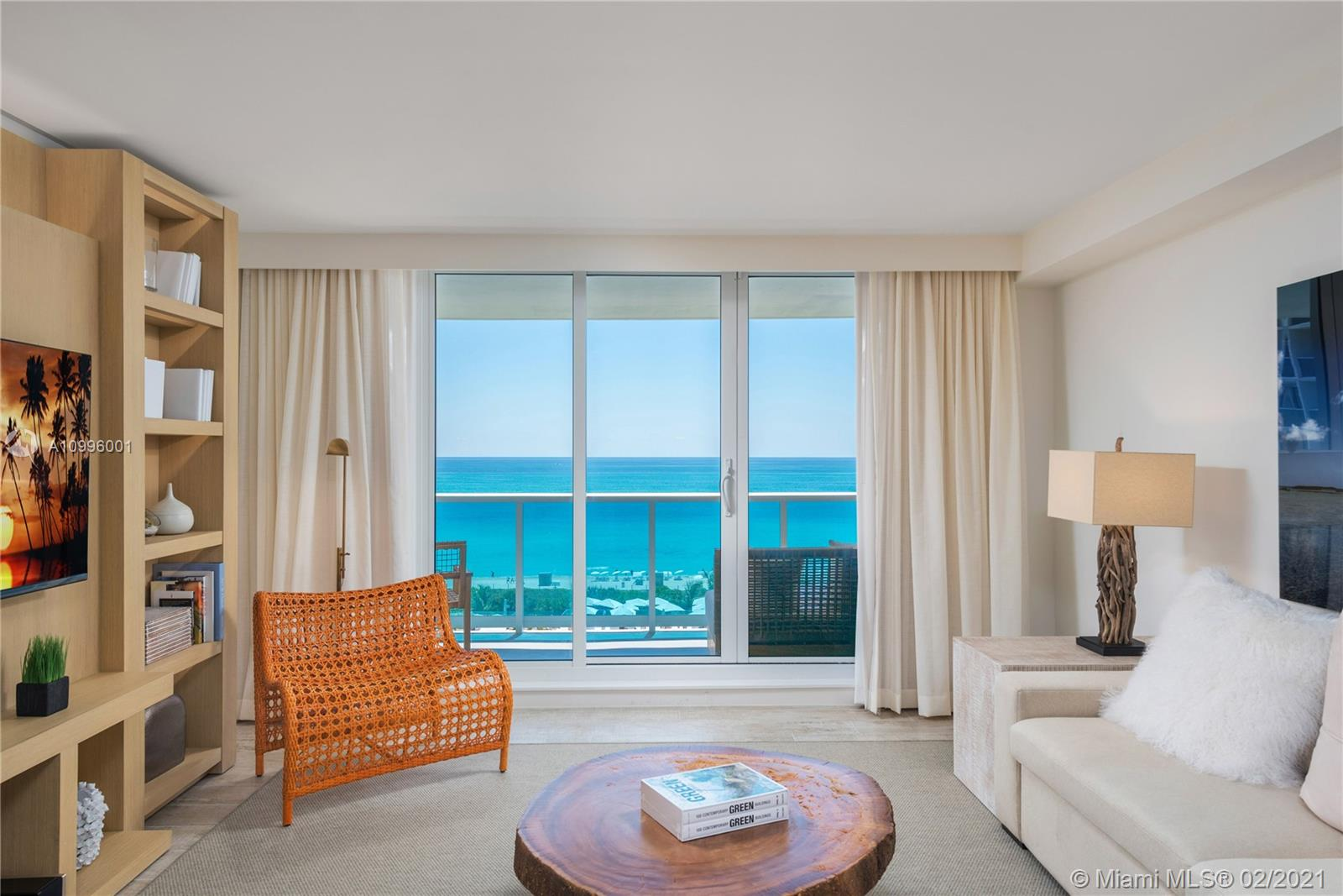 First time to the market! Uniquely positioned direct oceanfront 1 bedroom, 1 bathroom residence, 1/2 in the entire property. Fully turn-key with the hotel furniture package designed and accessorized by celebrated interior architect Debora Aguilar. Full service and highly amenitized building.  The 1 Hotel & Homes offers an effortless ownership experience in the best location in South Beach.