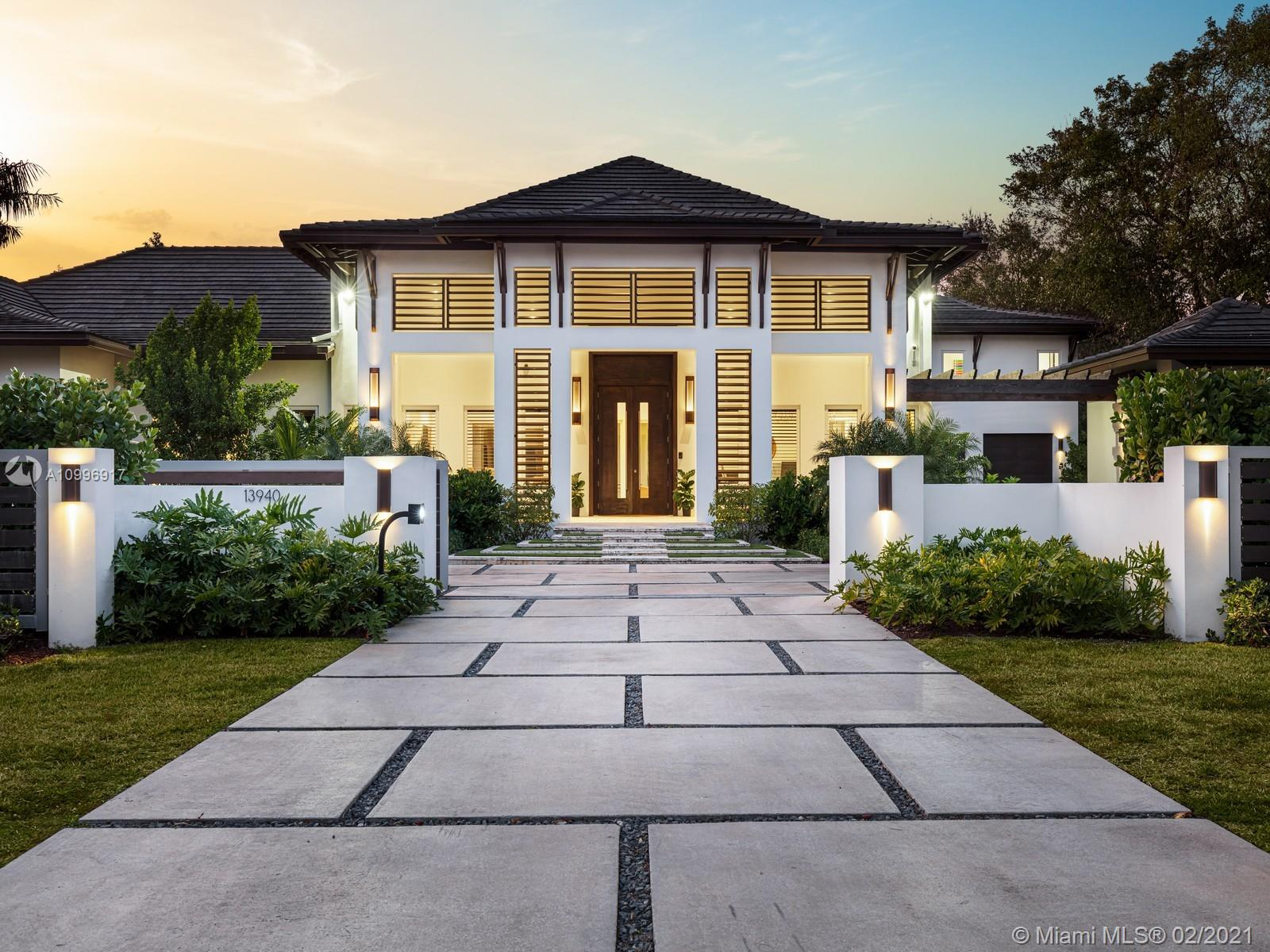 2019 Bali Style New Construction home located on Old Cutler Road & near Pinecrest. This exquisite one-story estate welcomes you w/a spectacular open flr plan, featuring 20-ft volume ceilings, large living rm, family rm, formal dining rm, & wine tasting rm w/gorgeous wet bar & glass wine gallery. Stunning chefs' kit w/vaulted ceilings, top-of-the-line appl, walk-in pantry, butler's pantry & breakfast area. Discover elegant high-end finishes throughout incl marble flrs, wd accents & smart home integration. Master Ste offers panoramic glass hallway, sitting area, walk-in closet, spa bath & outdr shower. Find an outdr oasis w/covered terr, summer kit & resort style pool w/tanning ledge. Add'l Features: gated, Study/Den, gas fireplace, 2 laundry rms, detached gym, & 2 car gar w/space for lifts.