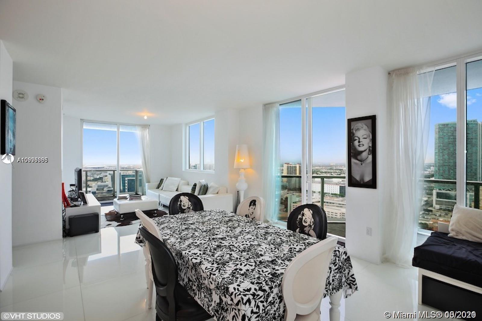 Beautiful Corner 1,203sqft. 2 Bedroom 2 Bath at Vizcayne South Tower. Expansive city and bay view from the 33rd floor of both balconies. Unit comes fully furnished, porcelain floor throughout, roller blackouts in both bedrooms. Unit can be rented up to 12 times/year ( 30 days minimum lease ). 1 Parking + 1 Storage included.