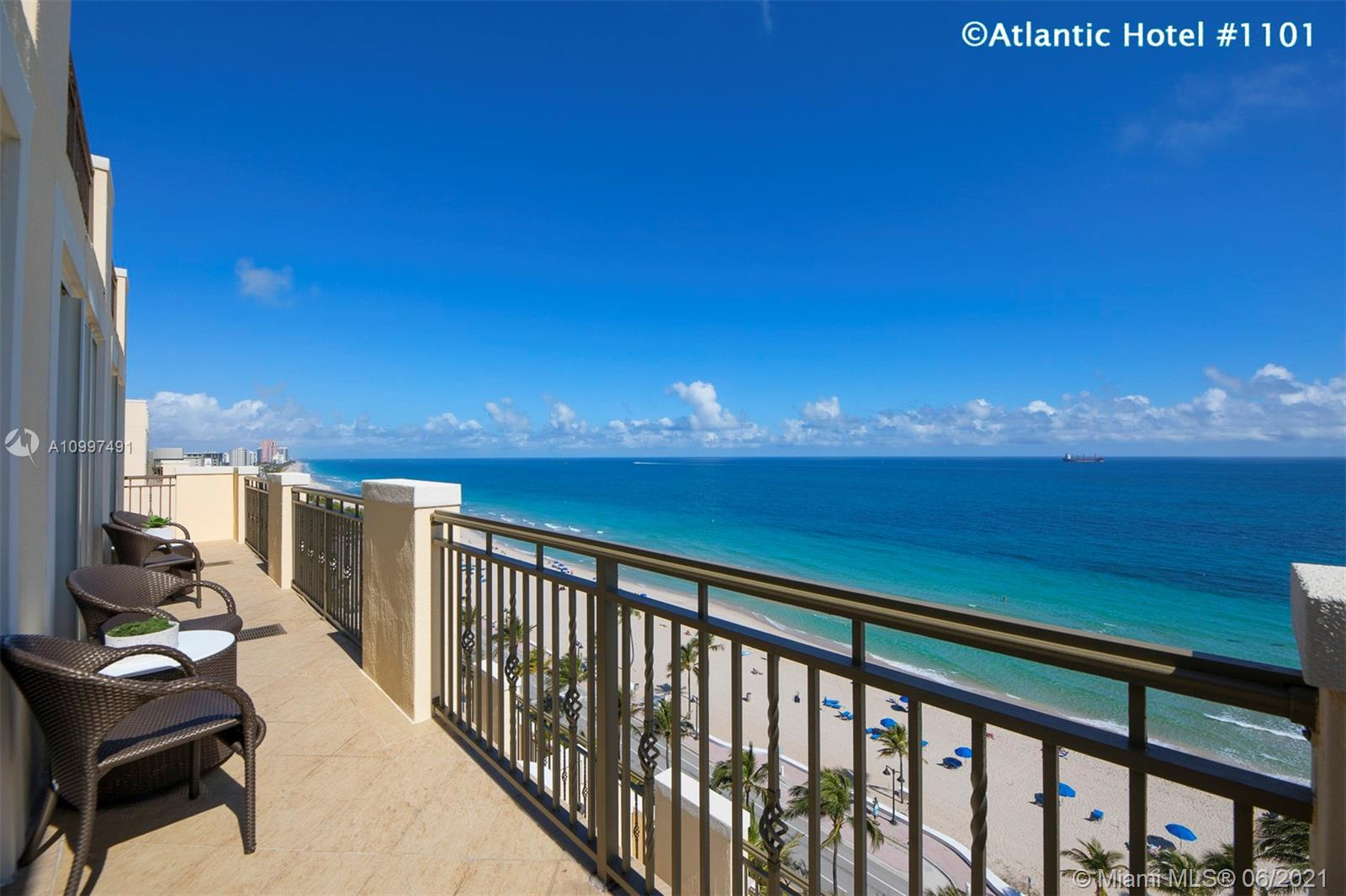 COOL MEETS COASTAL IN THIS SPECTACULAR ATLANTIC HOTEL CONDO WITH DIRECT OCEAN FRONT VIEWS FROM EVERY ROOM!  This updated contemporary condo is furnished with a split floor plan that includes 2 master bedrooms with ensuite marble bathrooms; fully functional kitchen with wood cabinets, granite countertops and SS appliances! THE ATLANTIC HOTEL & SPA offers 5 star amenities , valet parking, 24 hour concierge, doorman, room service, fine dining, rooftop bar (SKY Bar) and oceanside eatery on site, European Spa and Fitness Center, Oceanfront Pool & Cafe.  You can live here all year round, use the Hotel's rental program, or rent it out yourself!  Investors - this amazing condo is currently earning between 5-6% Cap Rate.  COME LIVE YOUR DREAM LIFE!  THERE IS NOTHING LIKE THESE VIEWS AT THIS PRICE!