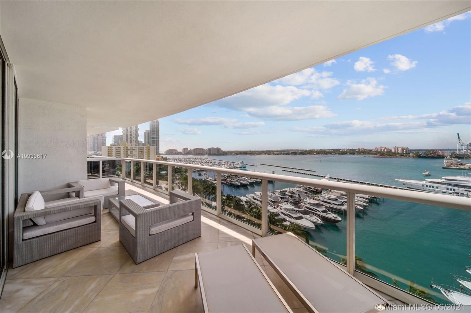 The bay views from this sprawling 3058 sq. ft. residence are second to none.  The building is among the highest rated condominiums in Miami and the location is in the highly coveted South of Fifth neighborhood in Miami Beach.  This beautiful home on the 10th floor of the luxurious Murano Grande enjoys stunning large format calacatta marble slabs throughout that accentuate the blue green turquoise waters of Biscayne Bay. Be sure to see the video for a walk through tour of this gorgeous residence.