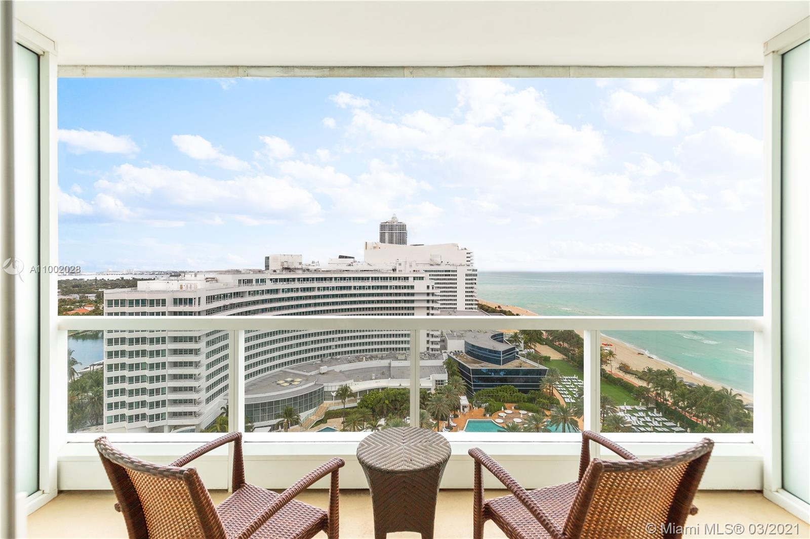 Beautifully appointed refurbished Jr Suite at the infamous Fontainebleau Hotel has ocean and pool views from the 16th floor.  This lovely Jr Suite has a full luxurious bath.  Low maintenance fees include:  local calls, electricity, valet parking, daily breakfast in owners lounge. Enjoy full service, a private Owner's Lounge, King size bed, a sleeper, & much more to enjoy the resort living. Owner has the option to enroll in the hotel rental program and receive income when not in use.  The Fontainebleau Resort's amenities are Five Star with luxury amenities sitting on 22 oceanfront acres.  Fabulous award wining restaurants on premises; LIV Nightclub, gorgeous full service Lapis Spa, state of the art fitness center,