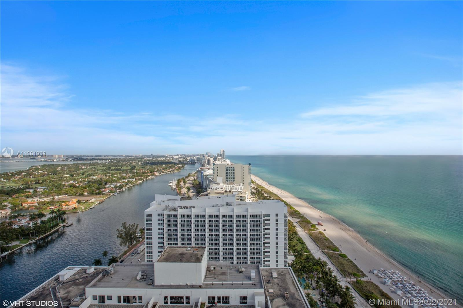 Enjoy stunning unobstructed ocean and bay views from this 34th floor apartment. This beautiful 2 bedrooms/2 baths apartment features: 1,490 sq.ft, living/dining, large balcony w/ access from the bedrooms and living room, kitchen w/ granite countertops, wood & tile floors, floor to ceiling glass windows, master bedroom w/ a walk-in closet, spacious master bathroom with jacuzzi tub and his/hers sinks, washer/dryer, and more. One assigned parking space is included. Building offers 1st class amenities: 24hr security, valet, concierge, tennis court, pool/hot tubs, café/market w/ room service, 16,000 sf clubhouse/spa, gym, personal trainers, party room, children's play room, billiards, business center, beach attendant and more.