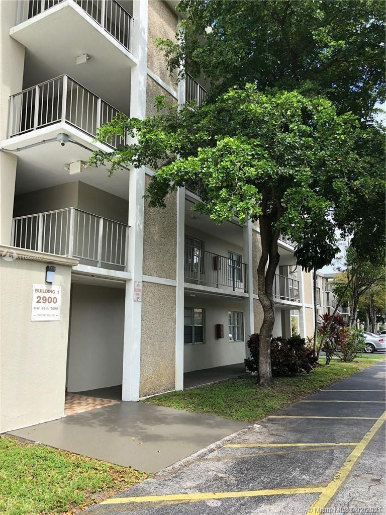 Spacious 2 bedroom 2 bath condo in elevator building with steel appliances, 4 ceiling fans and wall to wall tile flooring.  Great view of the pool and community garden with on-site manager.  Clean unit included cold AC, community laundry area, trash shoot and extra storage.  This 55+ community is across the street from the hospital with supermarkets and shopping conveniences nearby.  A short drive West will take you to the world renown Saw Grass Mall Outlet which is one of the sun & sand of Fort Lauderdale Beach.  Great place to live yr round or as a second home!