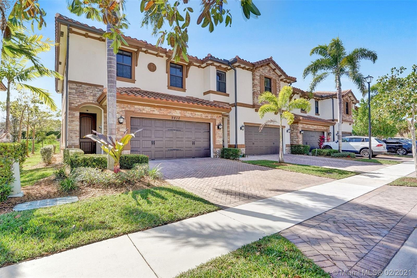 This beautiful designed Townhome is located in the Town Parc community of Mira Lago. This gorgeous corner unit attracts natural light which gives you a bright and warmth feel. This home comes with newly remodel vinyl tile flooring both upstairs and downstairs. Updated and spacious kitchen for a new a family to enjoy. Full Impact Windows throughout the entire home and a comforting private backyard space which is fenced in for your own entertainment. Reasonable HOA that gives you access to the club amenities and easy access to main roadways and major highways.