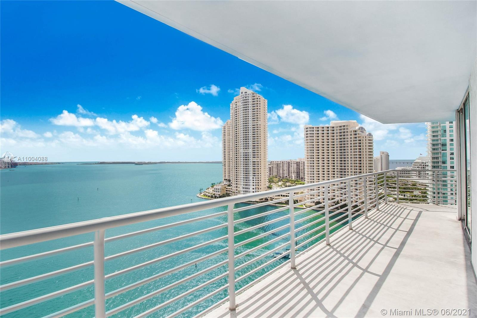 Most beautiful views in Miami! Approx.1800 square feet of Luxury Water front view from every room! 09-Line Bestin Building. Huge 3 BR 2 Bath Pristine Condition! Enjoy breathtaking panoramic views of Biscayne Bay, Port of Miami and the Miami Beach skyline from every window. The building offers resort-style amenities which include 24-hour security, excellent concierge and valet services, a recently renovated pool and state of the art gym. Minutes away from the finest restaurants and downtown hotspots including a new Whole Foods market. Wake up each morning to a magical sunrise, or relax on your spacious terrace under the evening sky. Live the Miami lifestyle in permanent vacation mode.