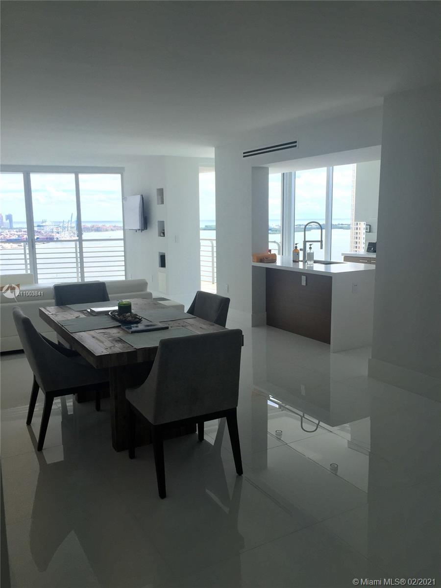 ONE OF A KIND COMPLETELY RENOVATED TURN KEY 34TH FLOOR 3/2 UNIT AT ONE MIAMI.  SOUTHEAST CORNER WITH SPECTACULAR VIEWS OF MIAMI, MIAMI BEACH AND BISCAYNE BAY AS FAR AS THE EYE CAN SEE.  UNIT HAS ONE ASSIGNED PARKING SPACE ON THE THIRD FLOOR PLUS A STORAGE UNIT.