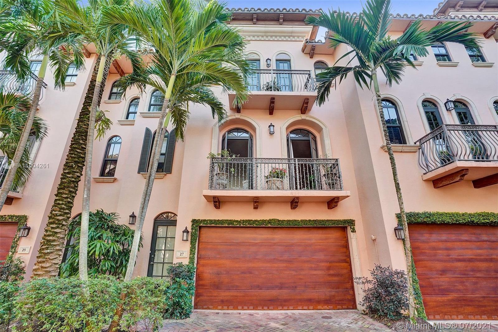 YOU HAVE TO SEE THIS IN PERSON!!Stunning newer construction Mediterranean townhouse just steps away from sought after Las Olas of East Fort Lauderdale!! This 3Bed/3.5Bath/2 car garage home is immaculate with high ceilings/offering 2600 Sq.Ft. under air perfect for entertaining. Two of the bedrooms and baths are on the 1st floor, take the elevator to the second floor and you will be impressed by the open floor plan with natural light filling a gorgeous open kitchen with a huge island and plenty of cabinetry. The 3rd floor is all for the master bedroom with impressive closet space and a spacious master bath. All impacts windows/doors, SS appliances/Gas Stove , 3 balconies, and high end finishes throughout. Walk to Parks, the river, the beach, and all kinds of dining and shopping!! LOW HOA!