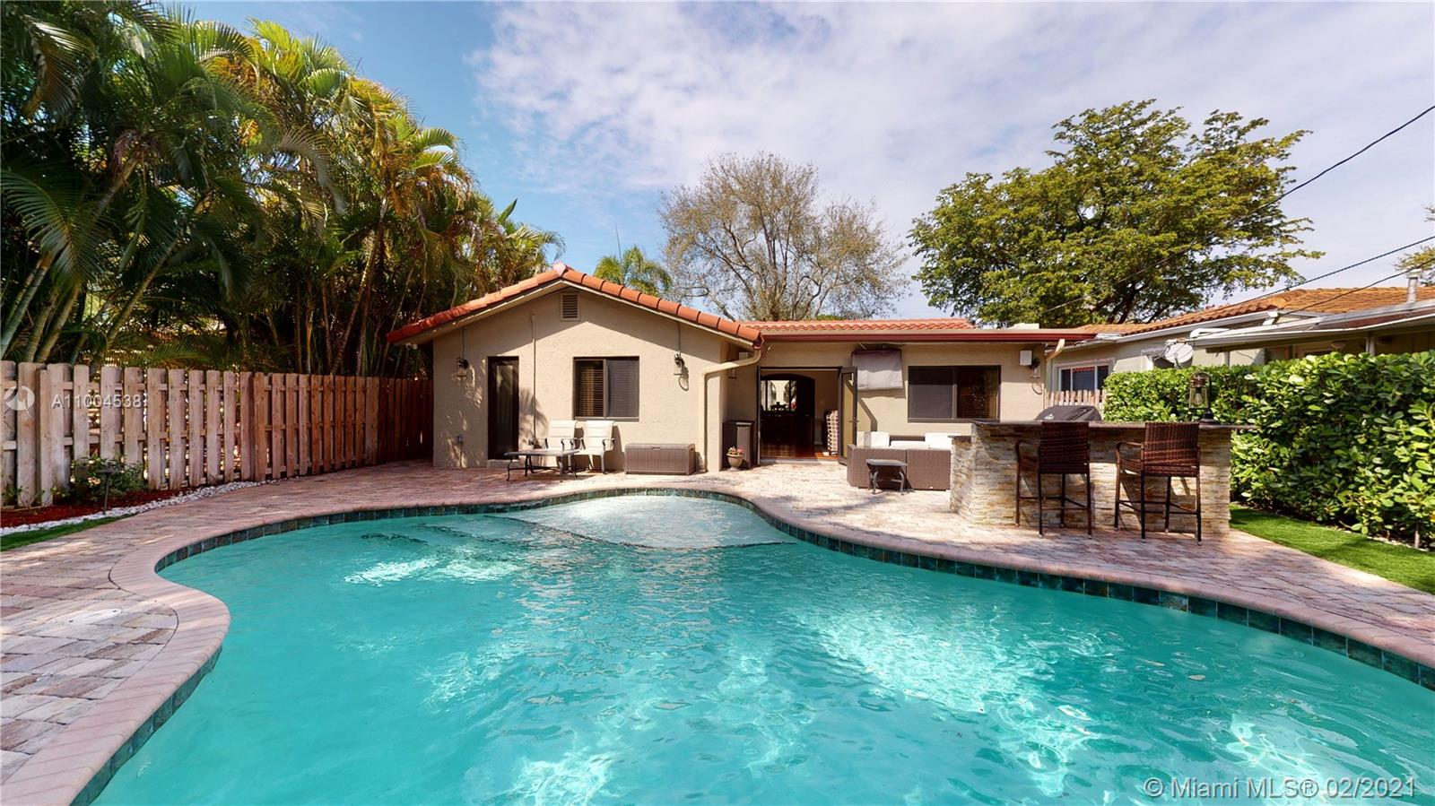 This Rio Vista Home is an absolute Jewel! The open plan layout exudes space and comfort. The sitting room with electric fireplace has French Doors leading out to the Heated Sparkling Pool, Outdoor Kitchen and Hot Tub, which you may enjoy year round. The large Master Bedroom has a Spacious Built-in Walk-in Closet and Updated Cabana Bathroom. The Guest Bedrooms are Roomy and Comfy. The home has so much to offer; 1 Car Garage, Impact Windows and Doors, Roof 4yrs, AC 3yrs, Tankless Water Heater, Newer Appliances, Generator plus more! Grab your your coffee and head out to Las Olas, Beaches, Airport and Cruise Port in mere minutes! Enjoy the South Florida Lifestyle Today!