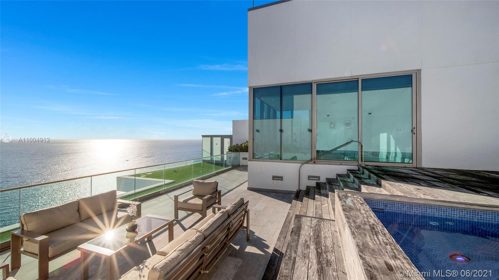 Dive into the ocean from this upper penthouse at the luxurious Oceana Bal Harbour Condo. World-class views, personal 32 ft rooftop pool, jacuzzi, and almost 6,000 sqft. This 4 BR plus media room can become your private sanctuary. The unit also features 2 master suites, 5 ½ baths, a spa-inspired master bathroom with a full-size sauna, two oversized showers, a stone bathtub, and two enclosed toilet rooms. The upper level includes a summer kitchen and outside lounge areas with direct Ocean, Bay, and City views. The main level features marble floors, 11 ft-high ceilings, and high-impact sliding doors that allow access to the XL balcony overlooking the ocean from every room. Oceana features 5-star amenities including a world-class spa, Olympic-style lap pool, two tennis courts, and more.