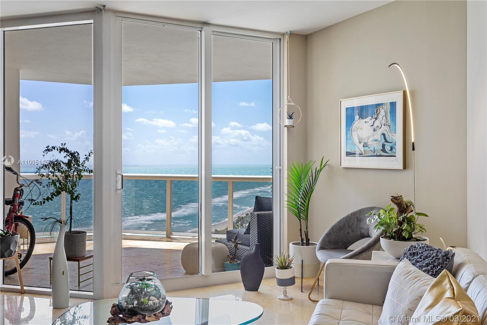 As you enter into this large Residence, you will Be Greeted w/Fantastic Views of the Beach, the Miami Skyline & Wide Bay. Floor-to-Ceiling Glass Sliding Doors open to an Expansive Private Balcony overlooking the Ocean & City. Large Open Kitchen with Stainless Steel Appliances, The  Main Bedroom w/ spacious custom built walk-in closet, Marble Bath w/ Jacuzzi & Separate Shower. The Prestigious Green Diamond Condo Offers Superb Amenities & Services. Enjoy Luxury Beachfront Living with Five-Star Resort-Style Amenities.