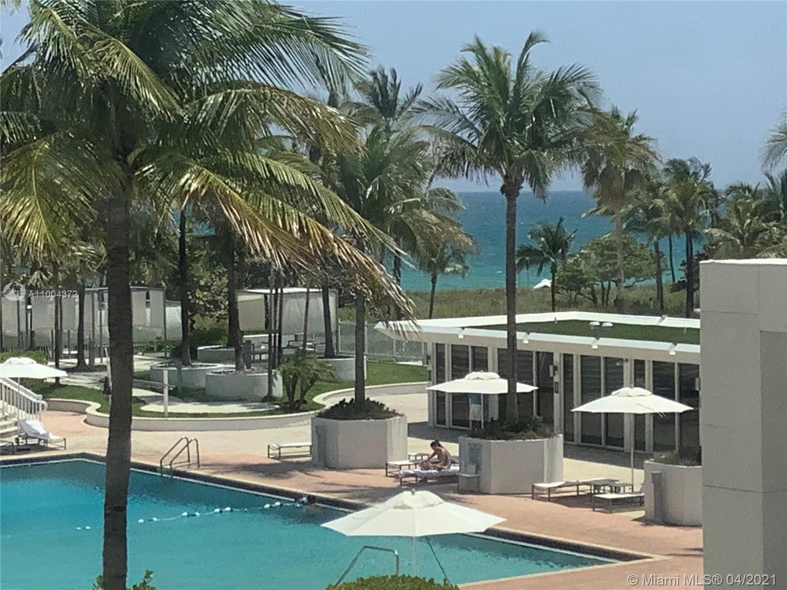 Spectacular direct ocean, beach, and pool view from this spacious 2 bedroom/2 bathroom apartment with oversized balcony(approximately double in size), located near famous Bal Harbour shops in one of the most desirable and prestigious beaches in South Florida. Relax in this renovated unit with 40X40 ceramic tiles, a modern kitchen with quatrz countertops, stainless steel appliances, and top of line washer and dryer.  Enjoy 5-star resort living with 24-hour security, valet, pool + jacuzzi, beach services, coffee shop, convenience store, movie theater, social room with pool tables and wet bar, gym, his & her spa, sauna, steam room, oceanfront walking-jogging path, bike path to South Beach and fishing pier. Bonus!
