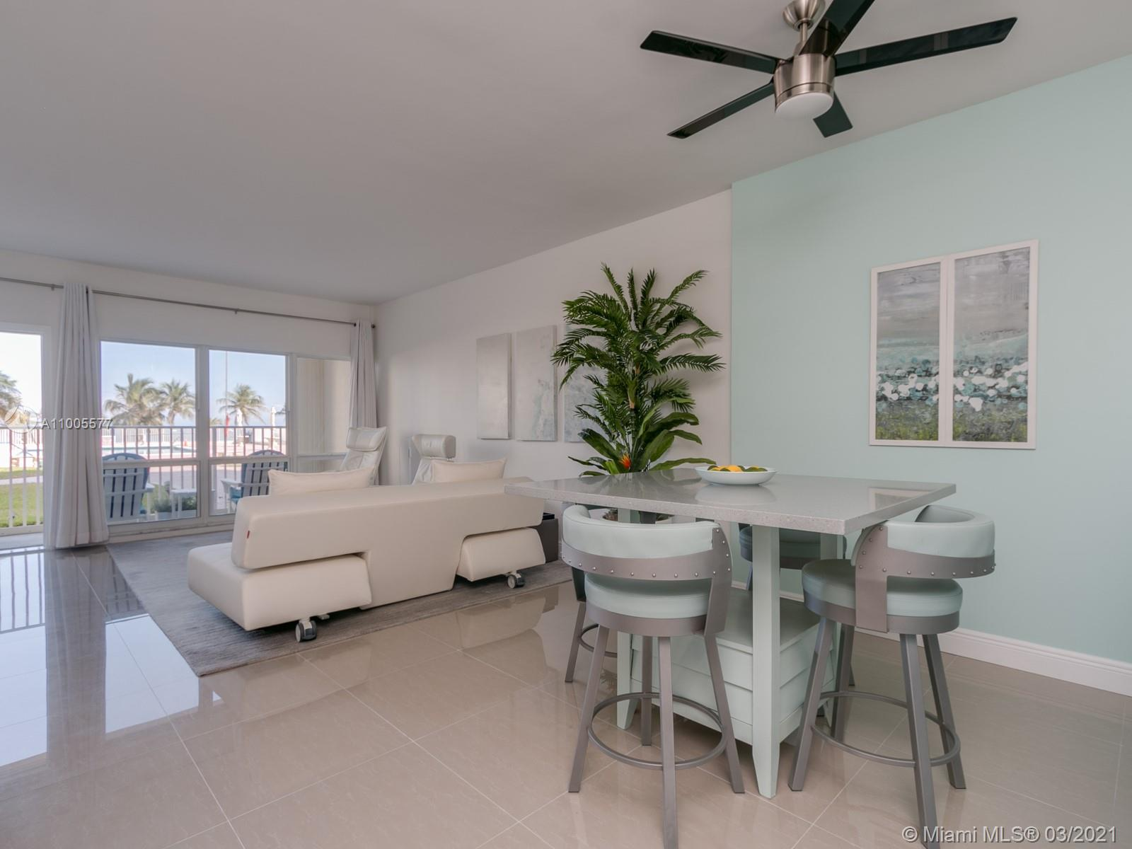 Oceanfront condo feels like a single family home. Rare opportunity to own one of only five condos with direct pool deck and beach access. Skip the elevator & lobby and step off your private patio for your morning swim or walk on the beach. Completely renovated 2019, this gorgeous 2/2 boasts 9ft ceilings, two separate BR suites with baths & walk in closets, impact windows, doors & hot water heater(2020), quartz counters, SS appliances, tile floors, wood cabinetry, new window treatments all decorated in soft, beach tones.Covered parking spot! Lobby secure bldg has 24-7 concierge, fitness center & rec rm. The building's private beach area has grills, lounges and tables for the exclusive use of Admiralty owners. Close to dining, entertainment & shopping. Carefree beach living at it's finest!