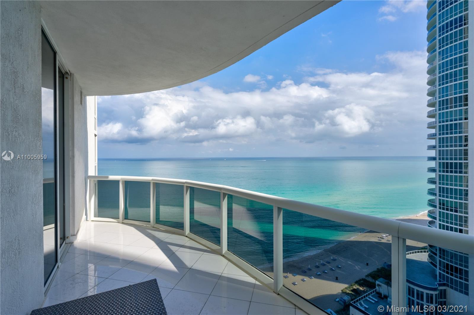 Gorgeous flow through fully renovated and furnished unit in the prestigious Trump Towers with panoramic SE/NE Ocean, intracoastal and city views from the 17th floor. Elegant 10' ceilings. Great floor plan. Full service building: Gym, spa, fully staffed restaurant, pool and beach attendant, 24 hours security, 1 Assigned park space and valet.