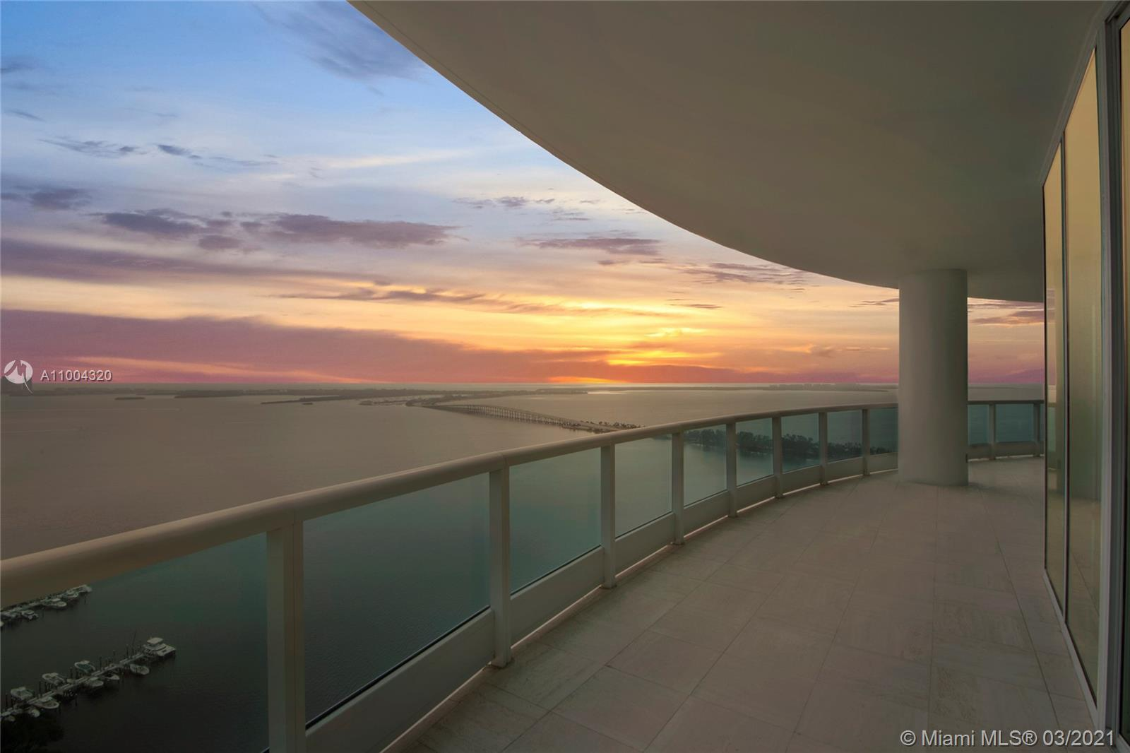 Here is your chance to own the sub-penthouse at the prestigious full-service, Bristol Tower. The absolutely gorgeous unit, boasts one of the most breathtaking views in all of South Florida. This large spacious unit has 4 beds, 4.5 baths, all in suite bathrooms, two master bathrooms, an office, laundry, private elevator, entry foyer, 3 assigned garage parking, unlimited valet parking & 2 storage units. Total SF of the unit including living & 2 substantial balconies is 5,935 SF. Amenities include Tennis, Gym, Kids Pay Area, Swimming Pool, Gym/Spa, 24hr Doorman Security, and more. This unit has to be seen to be believed.