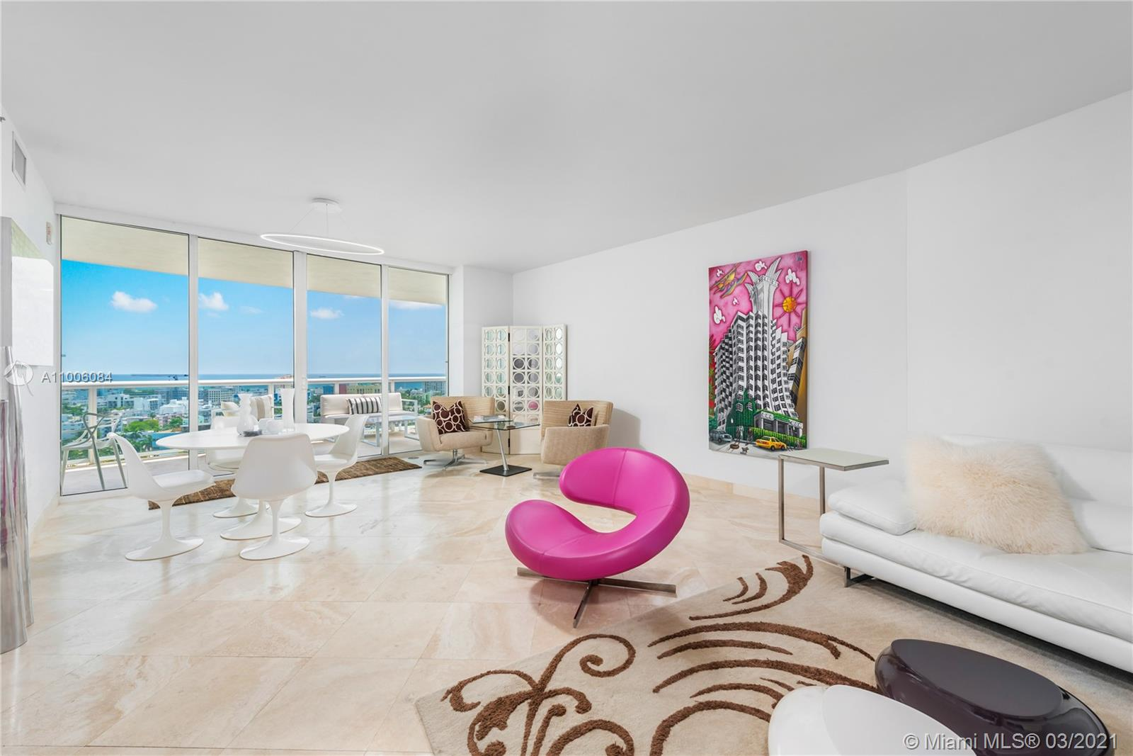 Airy 2/2 corner unit at Murano Grande in South Beach. Located in the South of Fifth neighborhood, #1711 enjoys one of the better floorplans in the building with a sizable balcony off the master bedroom and a generous balcony with views of the Ocean for everyone to appreciate. This is one of very few lines with private balconies with no neighbors looking in. Travertine floors throughout the 1649 square feet that allows for two very large bedrooms with their own space and beautiful views. Furniture is negotiable. Murano Grande is a benchmark for the area and has tennis courts, gym, cafe, and a great pool area. Easy to show.