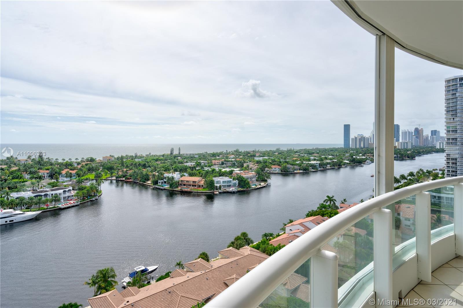 It's all about the view!! largest condo for sale at Atlantic III, this unit features of 3,400 sft. of living space, 4 bedrooms, 4.5 bathrooms with wraparound balcony overlooking the intracoastal and the ocean. Private elevator takes you directly to this unit. Open kitchen with top of the line appliances. Spectacular state of the art clubhouse, 3 pools, restaurants, marina, gym sauna, theater, BBQ area, tennis courts, towel service, 24 hr security, reception & valet.