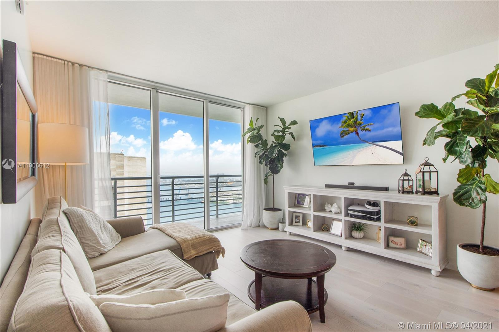 This high floor condo is perfectly situated on Biscayne Bay in downtown Miami. Interior features renovated bathrooms, large windows for natural light, wood floors and stainless steel appliances. Retreat outside to your large balcony overlooking the bay. Building features a waterfront walkway with access to Bay Front Park, two pools, sundeck, fitness center, two restaurants and is within walking distance to the American Airlines Arena, Metro Mover, Brickell City Center, The Shops at Bayside and Whole Foods.