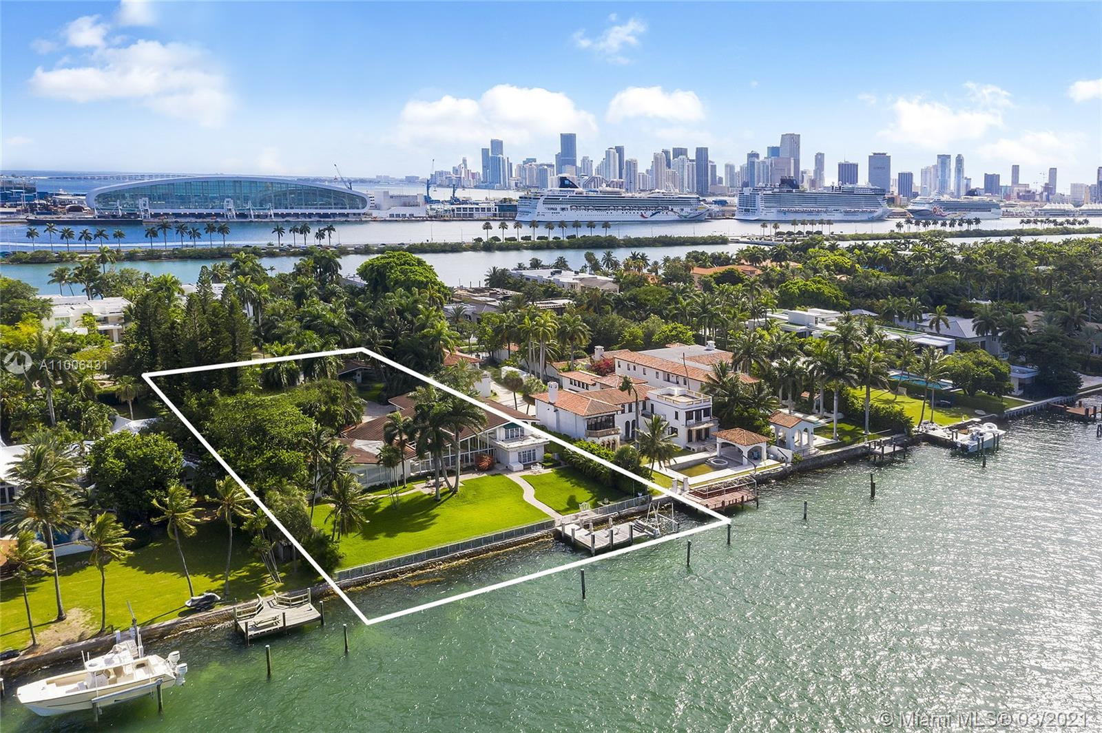 A rare opportunity on the Estate section of guard-gated Palm Island with 150' linear wide Biscayne Bay waterfront. The unique 45,000 SF waterfront property ready to build up to 22,500 SF home, with plenty of privacy. Existing dockage capable of accommodating large vessels. A true gem waiting to be rediscovered, with hard to find lighted Tennis Court & separate Guest House. Views facing North towards Star Island & Miami Beach. Enjoy all of Palm Island's amenities including tennis & basketball courts, playground and 24 hour police security, centrally located with easy access to all of Greater Miami's main attractions. Owner willing to Develop & deliver a finished new construction home for an asking price of $34M.