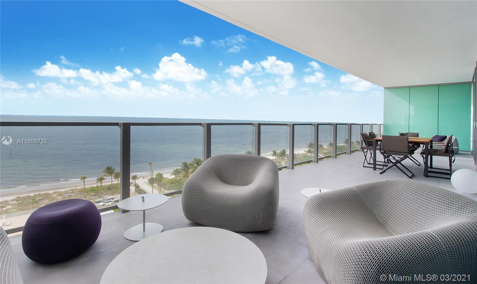 At OCEANA-KEY BISCAYNE you will enjoy the luxurious beach and sea lifestyle while being close to vibrant Miami, South Beach, Wynwood, Design District.  This 3,600 + sq.ft. beachfront apartment designed by architect and superyacht designer, Ramon Alonso of RADYCA studio fame,  to incorporate the newest and most innovative as well as sustainable material.  Nabuk Italian leather, open grain wood, natural stone, metal panels and reflective glass surfaces were key elements used in this multimillion dollar renovation, without making it heavy or imbalance, while enhancing the stunning ocean views.  Truly a work of art!