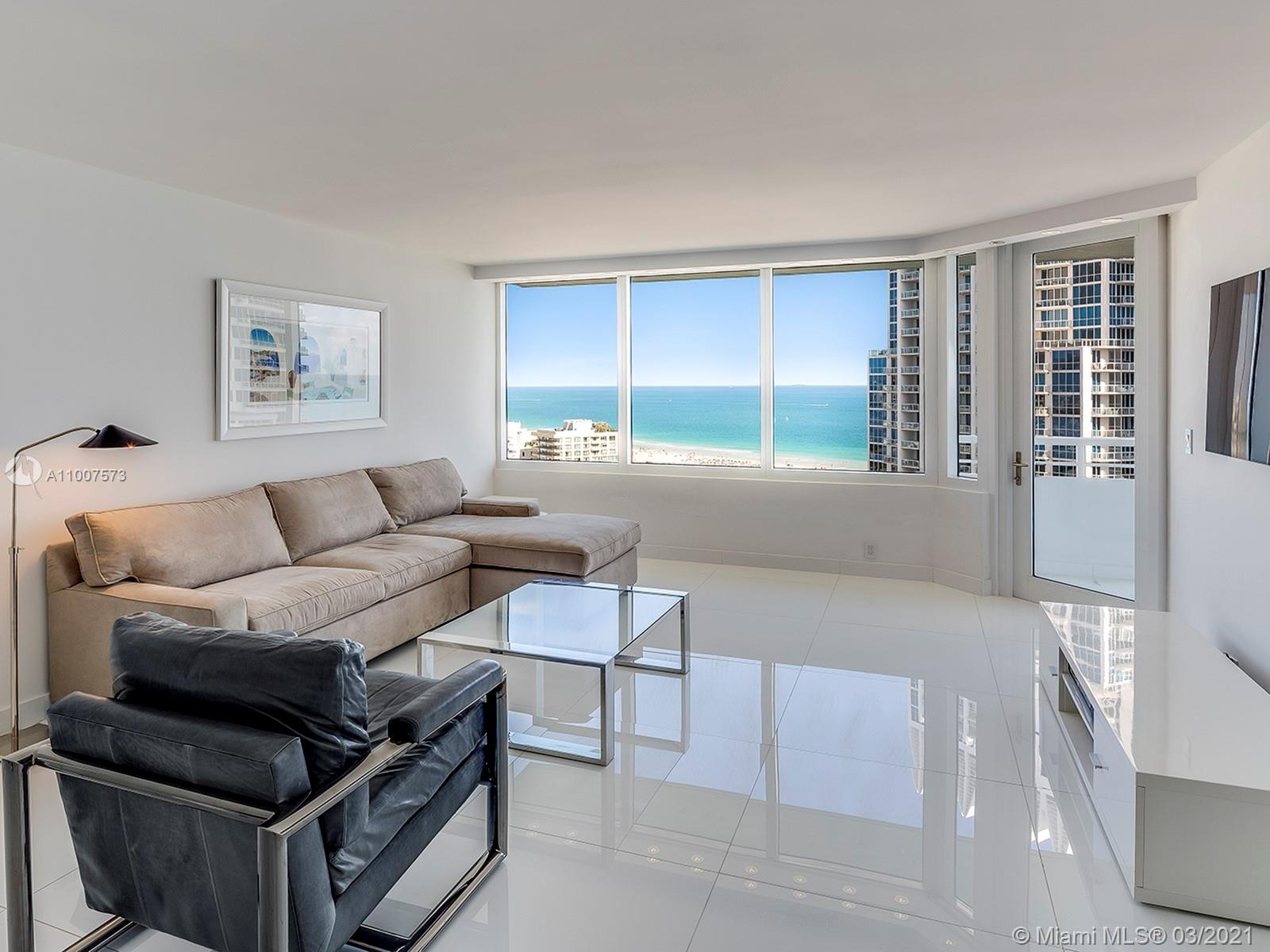 Best deal in the building & lowest priced unit! Completely renovated & rare high floor 1 bedroom, 1.5 baths. White glass marble floors throughout. Open kitchen with white quartz counters. New impact windows with motorized shades. Full service bldg. with 2 pools, lighted tennis courts, business and media centers and 24 hr fitness center. High floor views of ocean, South Beach and Govt Cut. S of 5th neighborhood with retail, restaurants and steps to the beach. Building is nearing completion to major renovation to pool, tennis courts, hallways & fitness center! Easy to show.