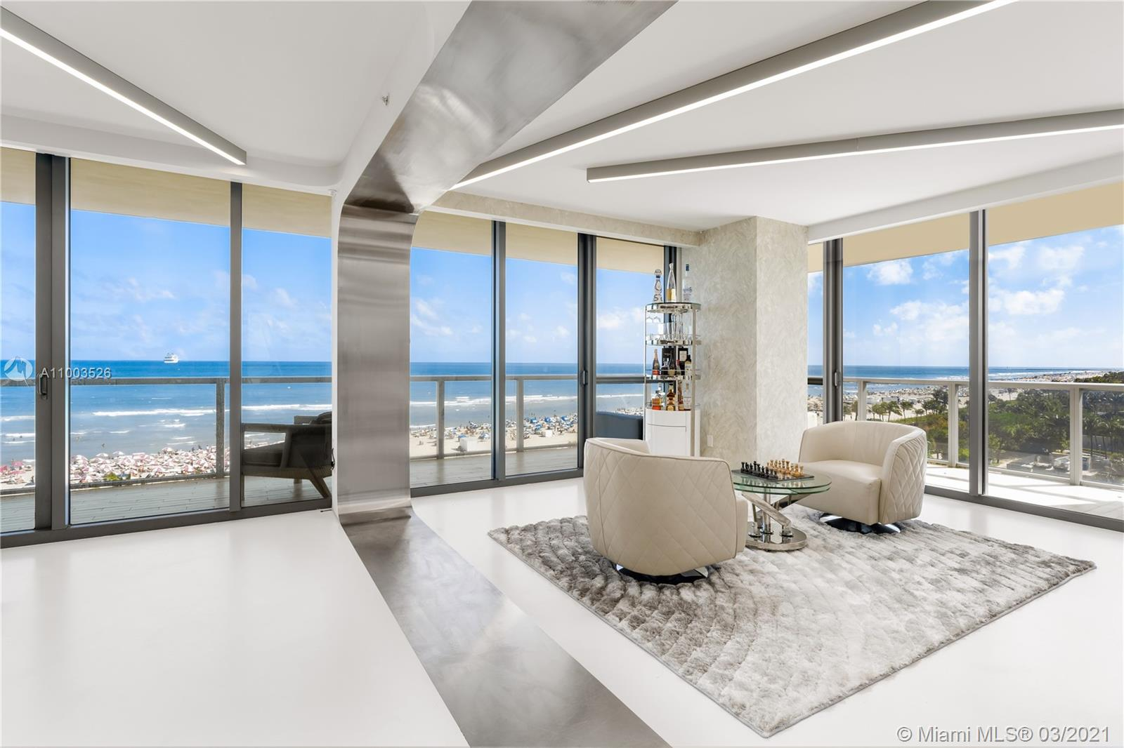 Welcome to the personal home of late architect, Zaha Hadid. Located at world famous W South Beach, this stunningly crafted combined residence is situated on the SE corner providing endless views of the Atlantic Ocean and South Beach. Live in a truly one-of-a-kind direct oceanfront residence personally designed by Zaha Hadid, a pioneering Pritzker winning architect know for her innovative and groundbreaking craftsmanship. This home also has an adjoining guest suite with its own privacy lock-out door, perfect for in-laws! The W South Beach just completed a $30 million renovation, and provides a truly luxurious experience with world renowned amenities. Close to all that South Beach has to offer!