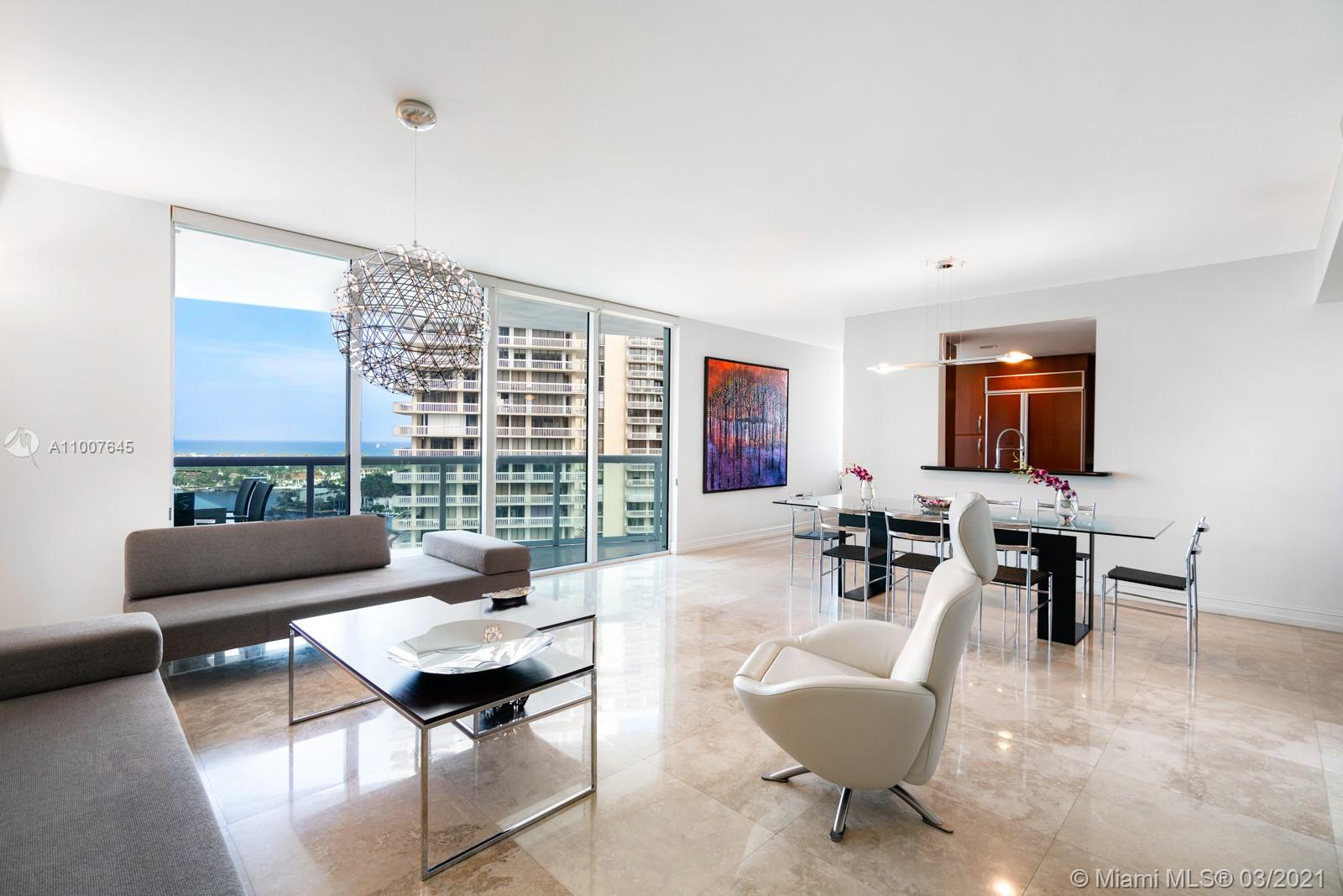 Amazing 3 Bed 3 Bath.  Water views from all the rooms, living room and kitchen. The best line in the building, balcony overlooking the intracoastal. Private elevator opens DIRECTLY into unit. Building amenities include pool, jacuzzi, sauna, steamer, fully serviced gym, security, shabbat elevator and lobby concierge 24/7. Within a 5 min drive of Aventura Mall, Turnberry golf club, Surfside, and Golden Beach. In front to Edmond J Safra Synagogue.