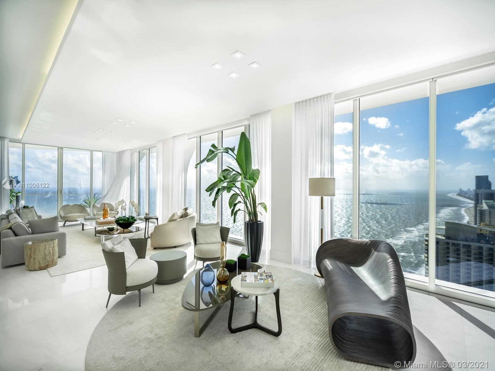 Enjoy 180 degree ocean and city views from this spectacular 5 bed, 6.5 bath corner unit in this breathtaking luxury tower by Pritzker prize-winning architects, Herzog & De Meuron. Featuring the highest quality finishes this 4,953 SF unit is move in ready, w/marble floorings throughout, built in closets, state of the art appliances and a smart home system. This unit has the ideal floor-plan w/a expansive master suite, walk in closet and bathroom, 3 additional rooms w/ensuite bathrooms as well as a service quarters and laundry room, offering stunning views from each of it's 5 terraces, this iconic unit is definitely worth a visit. Take advantage of the resort like amenities found in the building including the famous Tata Harper spa, exceptional dining services,fitness facilities and more.