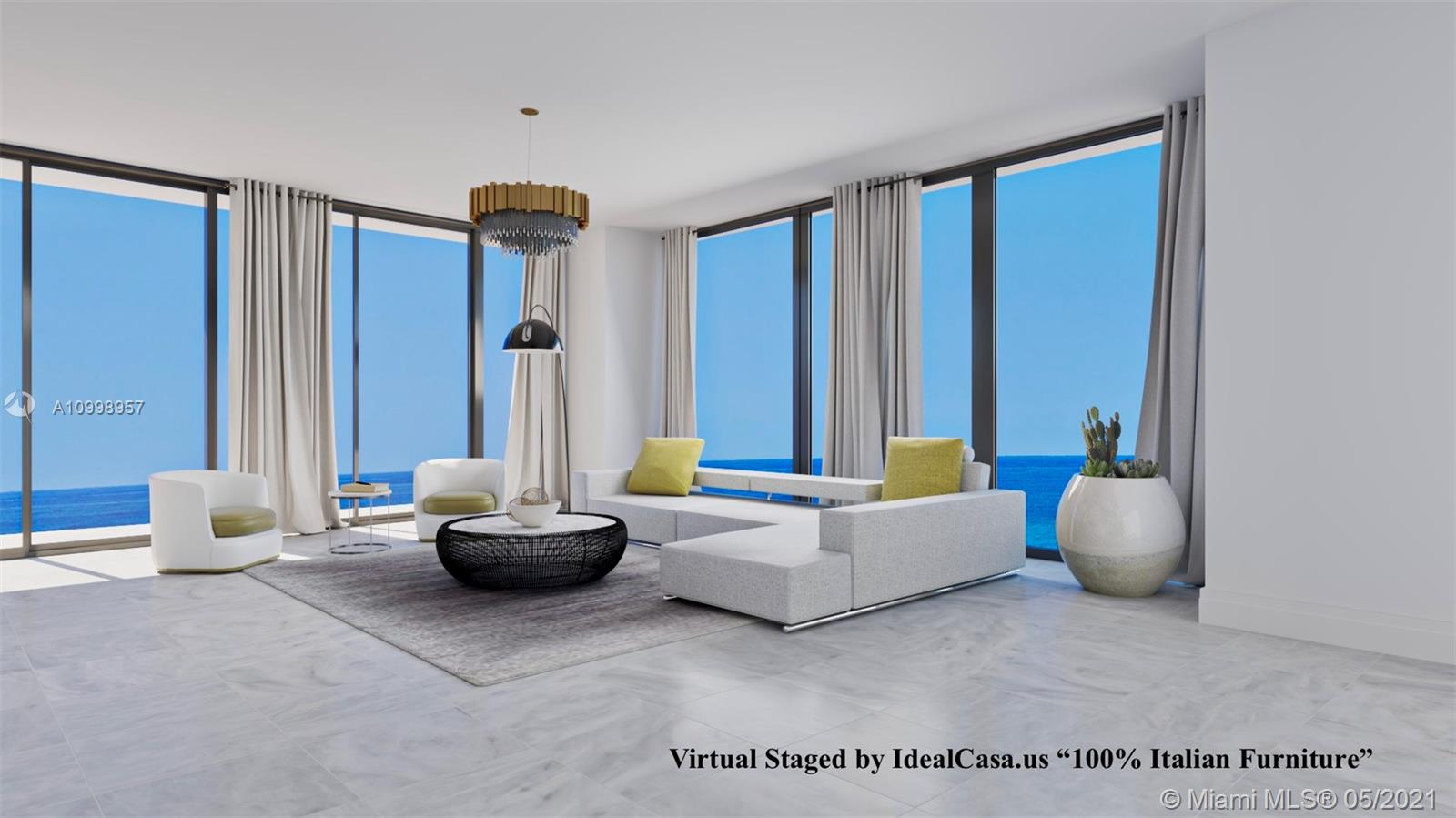 """Turnberry Ocean Club Luxury Residences at Sunny Isles Beach. Luxury Condominium, new construction 2021. Unit 1804 South.Direct Ocean views and Bay views. 4 Beds / 5 1/2 Baths, 3,625 SqFt. Private elevator with foyer. This unit has 10' Ceilings, very illuminated. Italian Kitchen """"Snaidero"""" ,white stone countertops, top-of-the line appliances """"Gaggenau"""". Master bedroom with 2 walk-in closets. Large master Bathroom, Six floor amenities, beach service, three swimming pools, private dining, Hydrotherapy Spa, fitness center, entertainment. Bar and restaurant with full kitchen. Privileges  Turnberry Isle Resort, including golf, tennis, and Marina activities"""