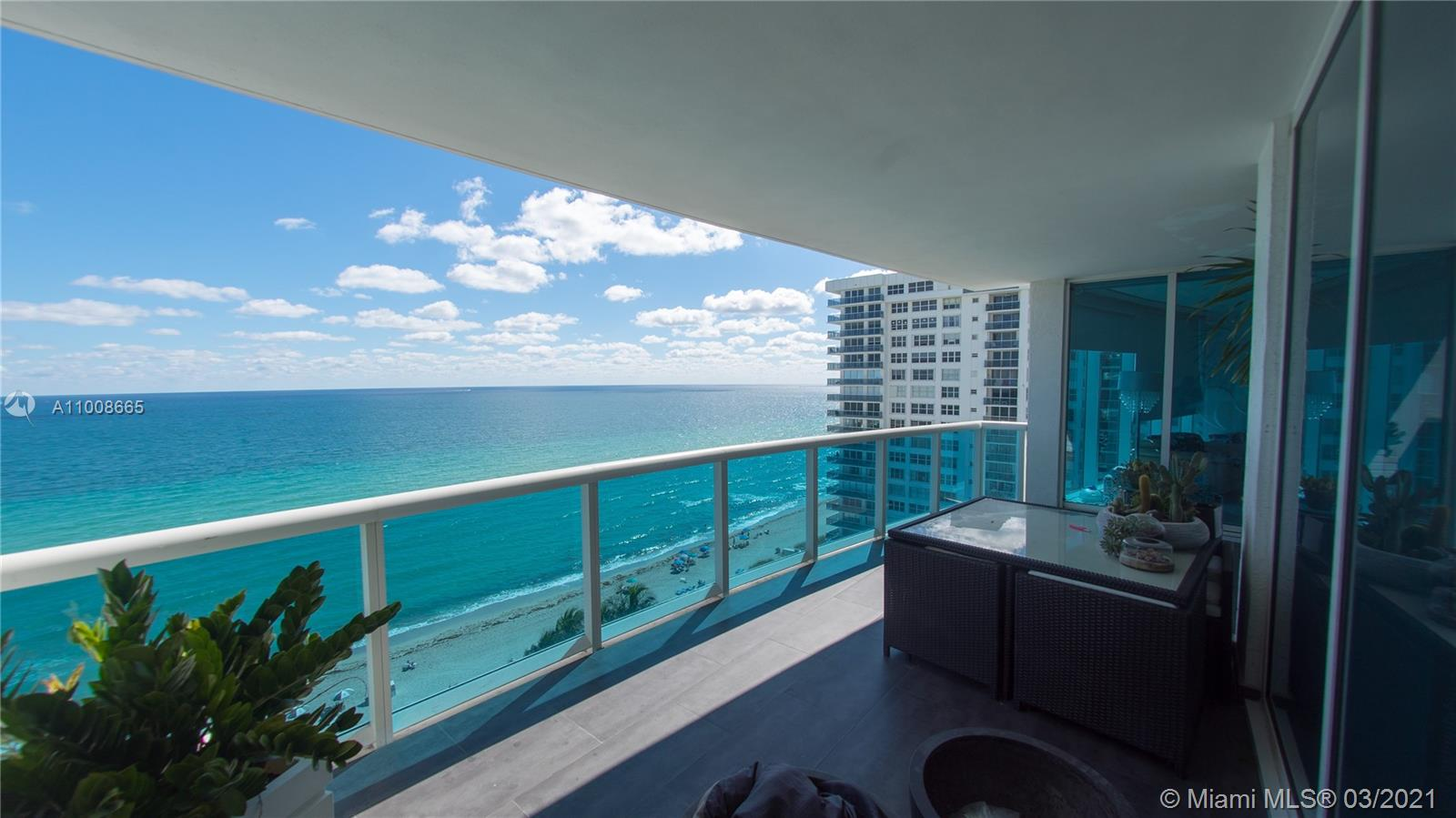 Oceanfront living at luxurious boutique building. Largest 3 bed floor plan with 3.5 baths. Enjoy flow through floor plan with panoramic oceanfront, intercostal and city views. Private elevator will lead to gorgeous marble foyer. Wood cabinetry kitchen with top of the line appliances, and custom wood closets throughout. Resort style amenities include; concierge, breakfast cafe, cigar lounge, theater, fitness and spa center, tennis court, restaurant, and beach services.