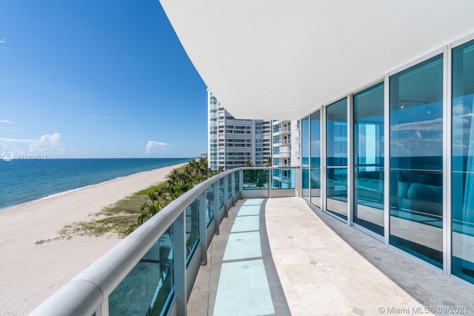 Located in one of the most sought-after addresses in Lauderdale By The Sea, this one-of-a-kind 5,100+ SF home defines custom elegance. Rise into this 5-bedroom, 5.5 bath combined double unit via semi private elevator, and get swept away by the stunning ocean views upon entry. Exquisite black marble floors and floor-to-ceiling windows accentuate the highly customized interior, with formal, informal, media, & dining spaces ideal for entertaining. Watch sunrise and sunset from any of the seven spacious terraces. From the wet bar to the built-in vanities, every detail is bespoke, including two master closets & a master bathroom tub overlooking the ocean. Additional amenities include private beach access w/ beach attendants, resort pool & fitness center, tennis courts, dog run, 24/7 concierge.