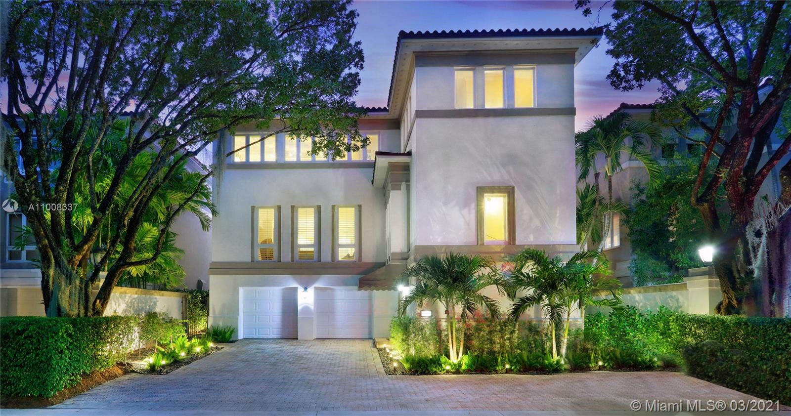 BAYSHORE VILLAS is an Exceptional Coconut Grove Enclave of only 25 Private Residences - Impressive Oak Laden 24 Hr Guarded Entrance - Newer Roof w/Impact Windows & Doors - White Stone Flooring w/Sisal Stairs & Elevator Entry - First Floor Bonus Room w/ Bar & Guest Suite - Main Floor w/Open Living - DIning - & Media Spaces Dramatic Ceilings &  Art Walls - White Lacquer Cabinets & Granite Island Kitchen w/ Stainless Subzero & Miele Appliances - Sunlit Breakfast Room - Upstairs Tree-Top Grand Salon & Spa Bath w/Designer Closet - 2 Bedroom Suites & Bath - Laundry Room - 2 Car Garage Professionally Landscaped & Lighted Patio & Yard - Community Pool & Spa - 2 Tennis Courts -  Docks - Best Parks, Schools, Coconut Grove Marinas, Restaurants & Shopping. Minutes to Airport, Downtown & South Beach.