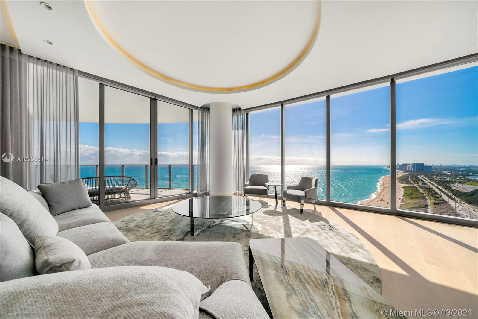 Amazing 4 bed, 5.5 bath unit with spectacular views of all of Miami Beach and Downtown. Unit is complete with family room, Snaidero kitchen, Gaggenau appliances, private elevator foyer, and service quarters to name a few. Beautiful fully furnished unit that wraps around the entire south side and offers 270 degrees of breathtaking panoramic views of the Atlantic Ocean, Miami skyline, Bay & Intracoastal. Designed by world renowned architectural firm Arquitectonica. Amenities include: concierge, valet, restaurant & room service, beach & pool services, 2 swimming pools, hot tub, movie theater, oceanfront gym and Spa, wine lounge, game room, 8 guest suites, complimentary continental breakfast every day and much more.
