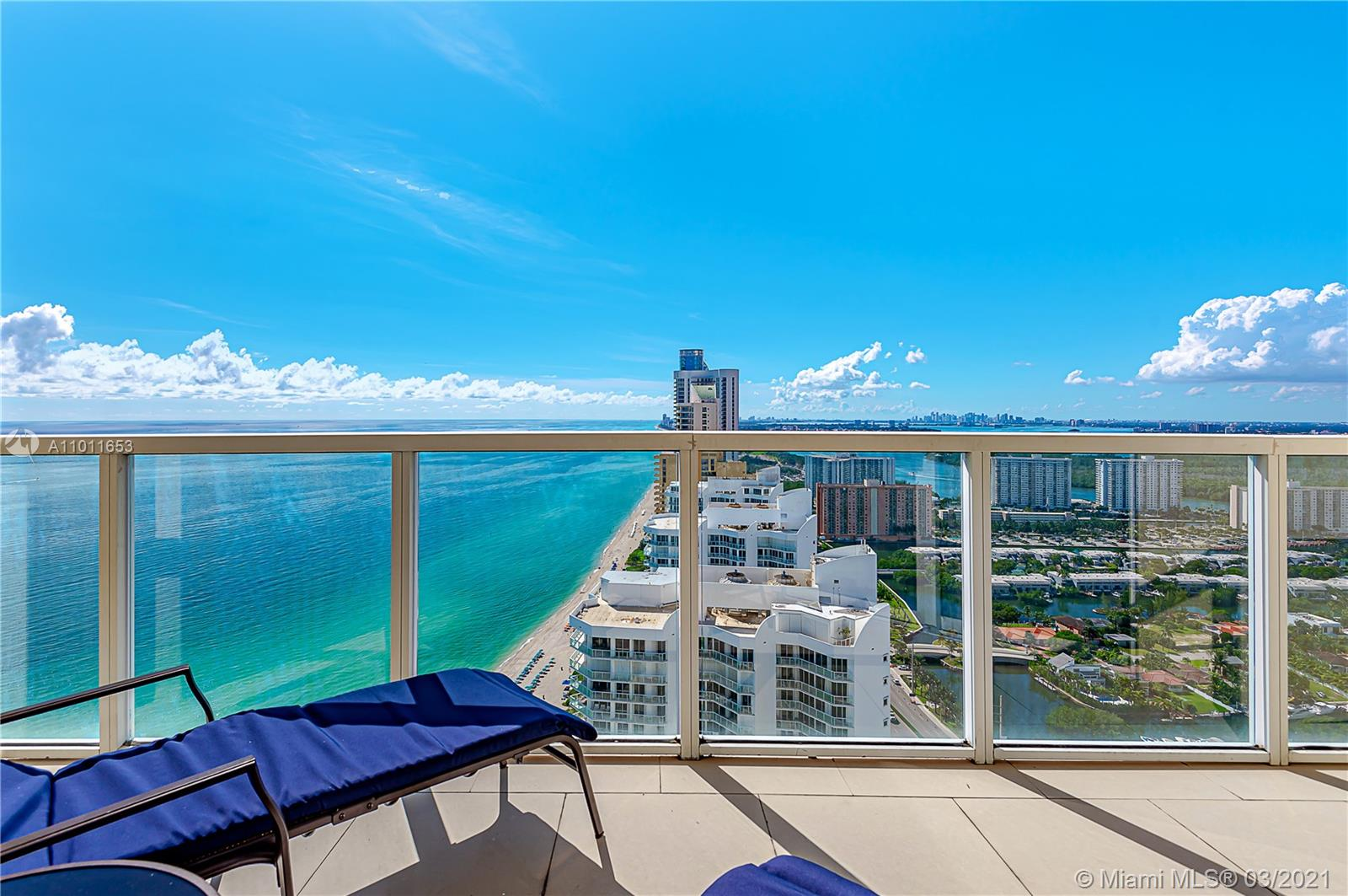 High in the sky with the best ocean & intracoastal views you can get in Sunny Isles Beach. Perched on the 41st floor this 2 bed, 2 bath residence has a split floor plan with 1266 sq/ft interior & is offered fully furnished. Open kitchen with granite countertops, stainless steel appliances, & breakfast bar. The master bedroom offers amazing ocean views & features a large walk in closet & on-suite bathroom with dual sinks, huge soaking tub, & separate shower. Second bedroom has spectacular ocean views, a walk in closet, & on-suite bath. Unique, extended balconies (top 5 floors) & washer/dryer. La Perla permits 12 leases/year-no minimum stay. 4109 is currently renting for $6k/month short term. Buyer can assume management & all rentals. Fitness center, pool, beach services, & low HOA fees.