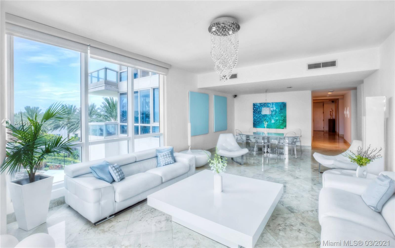 Beautiful 3 bed 3 bath apartment is the best of Continuum 5-star resort living, with treetop views facing East over the beach and lush garden landscapes. It also boasts wonderful West sunset views of Fisher Island and the blue waters of Cruise Ship Alley right from its spacious master bedroom. This bright sprawling corner unit has marble floors through out the 2,122 sf expansive floor plan. The kitchen features high end appliances by Miele and Subzero. This lowest priced 3 bedroom apartment is a great value, giving the feel of a private residence home among all the amazing world class Continuum amenities such as 3 pools, spa, three-level fitness center, tennis courts, restaurant, concierge beach services, children's playroom, and newly renovated 4th floor lounge and coffee area.
