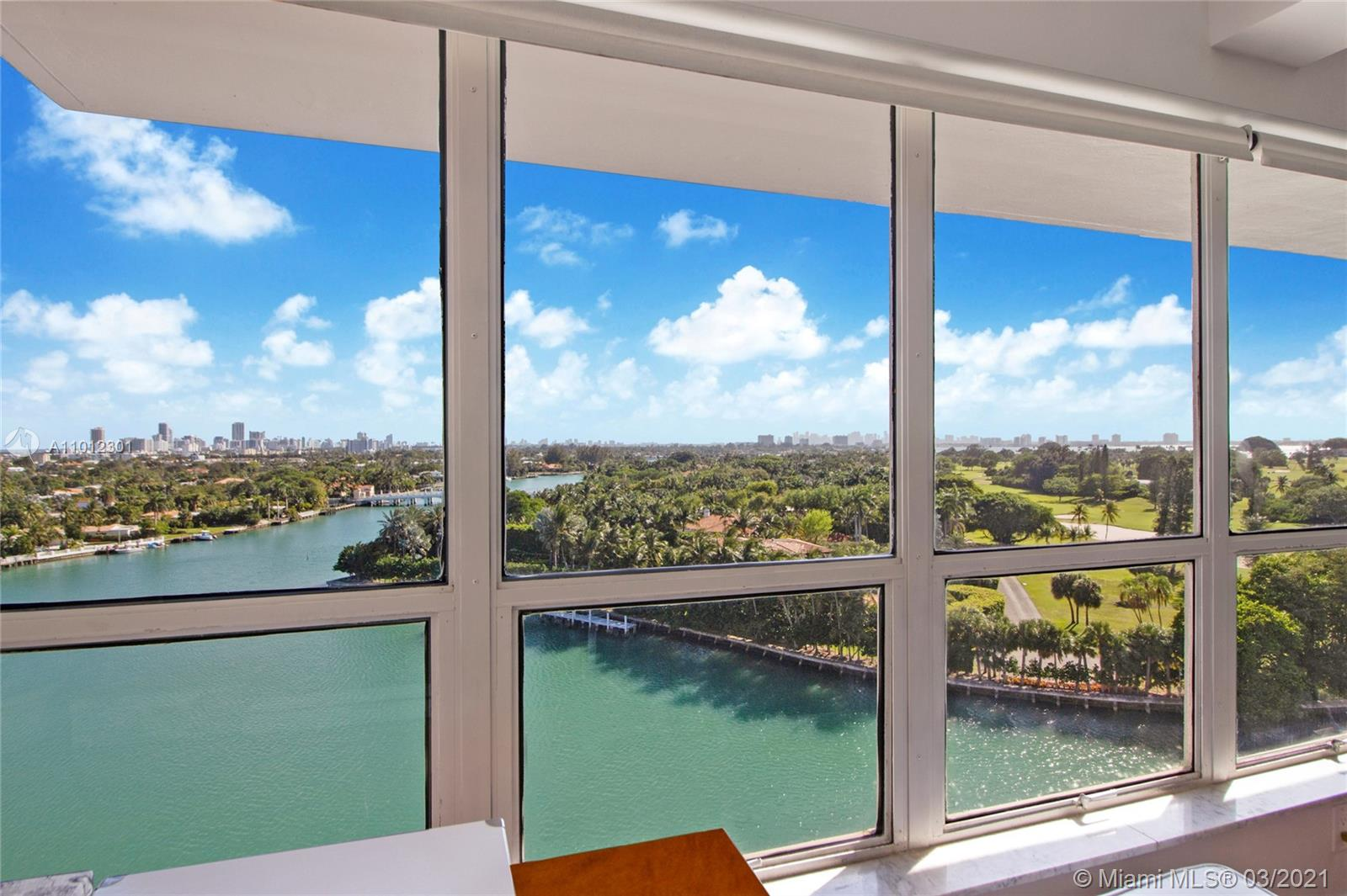 """Beautiful water views and so much more, from this ample and full of light apartment at Blair House in Bay Harbor Islands, located 5 minutes from exclusive Bal Harbour and directly across from the Intracoastal. From its large windows, you can see the amazing city skyline, enjoy the """"greens"""" of Indian Creek and its water views. The property offers an open floor plan which allows for spacious luxury living. In addition to large living and dining areas, this apartment has two spacious bedrooms, all with great views, 2 1/2 bathrooms, kitchen, laundry area and comes w/ storage unit. Blair house is walking distance from highly desired Ruth K. Broad bay harbor K-8 school district. Property can only be shown Tuesdays and Thursdays. Please use showing assist or call listing agent for showings."""