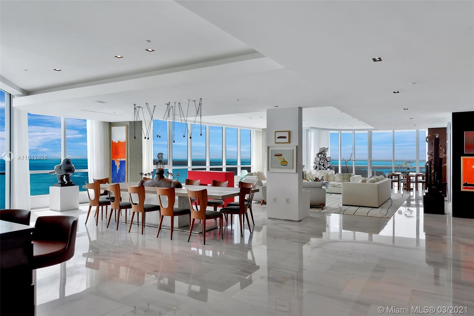 Stepping into this sky mansion one marvels at endless 300 degree views with bright turquoise waters & powder blue skies through 2 story windows speckled with sparkling sunlight. Intelligently designed & turnkey this 8229sqft floor plan spans half of the 36th floor of the prestigious Continuum South Tower. One wing of this show place is a two-story Master bedroom with beach views one can wake up to luminous sunrises all in a luxurious setting. Generous balconies in a garden setting enhance each room. Experience sunrises & sunsets from the vast living room. 6 bedrooms featuring stunning layered fisher island & downtown Miami City views. With a movie theater 2 entertainer's kitchens and bar, this opulent masterpiece home is where a family can congregate knowing it just doesn't get any better.