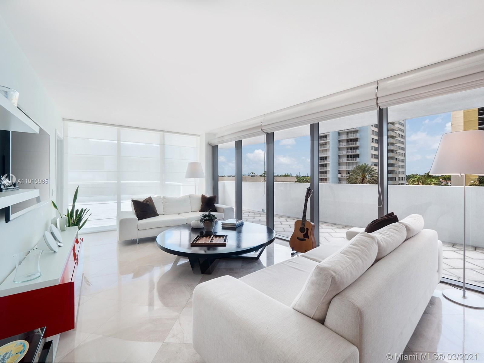 Entertain in style and ease in this corner unit pied-a-terre at Mei Miami Beach, on its spectacular 1,500 square foot extra-deep terrace. To the east, glimpse the ocean, while to the west is picturesque Collins Avenue and the Miami Beach skyline. Off the 35-foot-long great room sits the open plan kitchen, with teak veneer cabinetry, glass countertops, Thermador appliances including a built-in espresso maker, and a U-Line wine fridge. Each of the three bedrooms offers direct terrace access. The 3.5 baths feature Jerusalem limestone, and fixtures from Kohler and Toto, while in the master a luxurious soaking tub awaits. The Asian-inspired building has a serviced beach and freshly renovated public areas, including an expansive pool deck, tea lounge, and Asian spa.