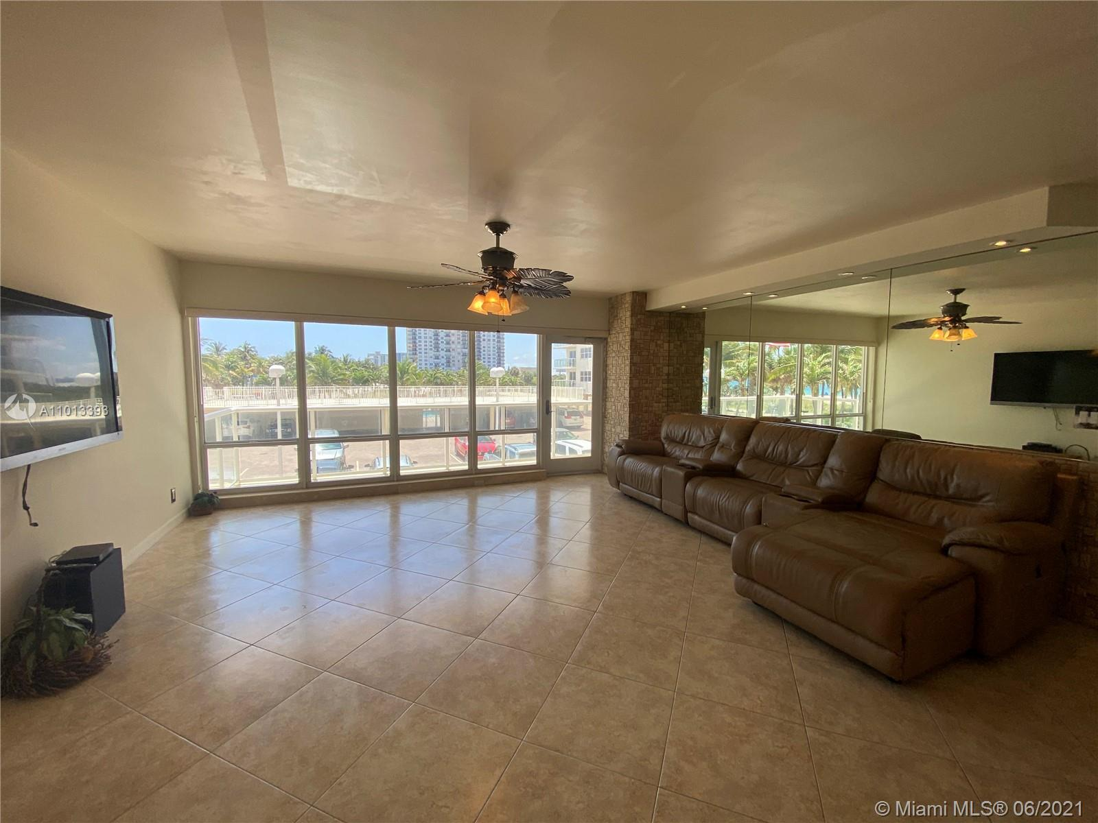 Own your own slice of paradise with this spacious 3 bedroom, 2/1 bath condo on the most desirable section of Pompano Beach. The ocean views from all rooms overlook the park, splash pad, pier, beach and ocean. Banks, drug stores, restaurants and shops are all within walking distance. The condo has stoned and mirrored accents and has been newly-painted. The kitchen is fitted with stainless steel appliances, and granite countertops in the kitchen and baths. A stackable full-sized Samsung washer and dryer is conveniently in the unit. All windows are high impact. An oversized balcony is perfect for watching the sunrise with your morning coffee. The condo association provides you with covered parking, 24 hour security, gymnasium, game room, library, swimming pool and more. Move in Ready!