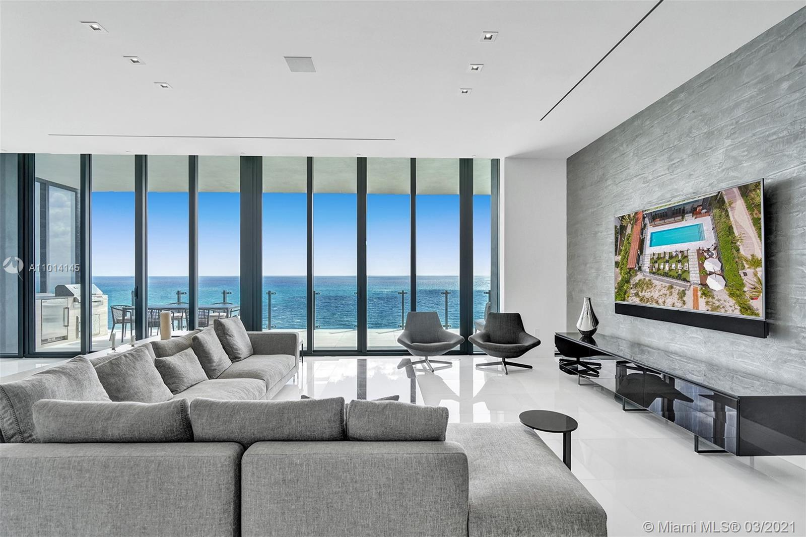 This magnificent FURNISHED ocean front apartment has 3 beds/ 3.5 baths + den. As soon as you arrive to the 23rd floor, You will be greeted by a private foyer and 12' ceilings.  The terrace, with summer kitchen & astonishing 720 sq has beautiful views. The Master Suite which is equipped with a midnight bar, spa-like bathroom and an Expansive walk-in closet w/leather inserts is just exceptional. The interior has been all decorated with B&B  Italia furniture and  the home features luxury finishes such as marble & wood floors, , walk in closets, smart home system & much more. The unit also has a laundry room. STORAGE INCLUDED! Amenities include infinity edge pool, breakfast for owners, food/beverage service, car automated parking system, sauna/steam & fitness center. 3 valet parking