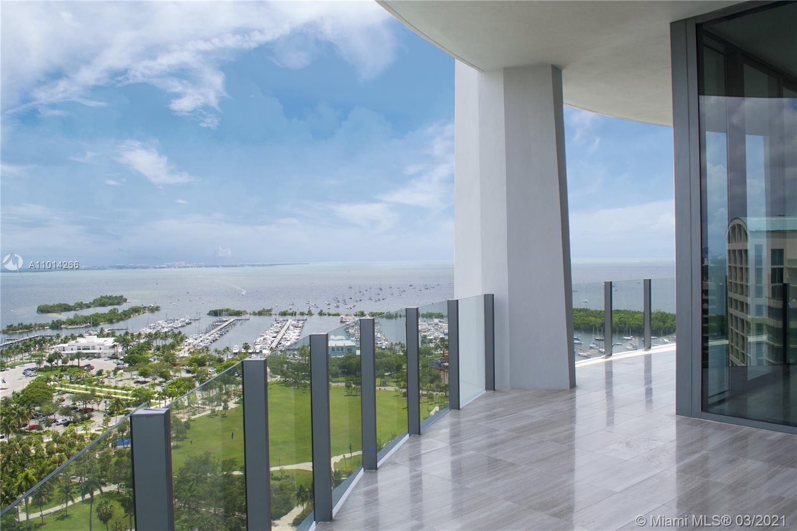 Gorgeous High Floor Available at Two Park Grove, Unit 14D features an expansive floorpan with 3 bedrooms and 3.5 baths, 2917 Interior sqft and 439 sqft of balcony with Gorgeous Bay views. The Residence features 12ft Floor to Ceiling Windows throughout, Private Elevator, Eloquent Kitchen designed by William Scofield with Top of the Line finishes. Designed by Pritzker Prize Winning Architect Rem Koolhass/OMA, Park Grove gives you the ultimate luxurious experience. The building features Spa, Fitness Center, Resort Style Pool, Cabanas, Children's rooms, Restaurants, and 24hr Concierge and Valet. Call LA for showings
