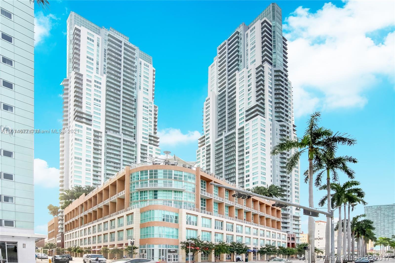 One of the most beautiful units, 2 bedroom, 2 baths,  floor to ceiling windows with ocean views of skyline and bay. Amenities include 24hr welcome and concierge center, resort style, mezzanine with heated whirlpool, family areas, men and women steam rooms, fully equipped technologically advanced fitness center and lounge. Walking distance to Bay Side and AAA. Good for investors.