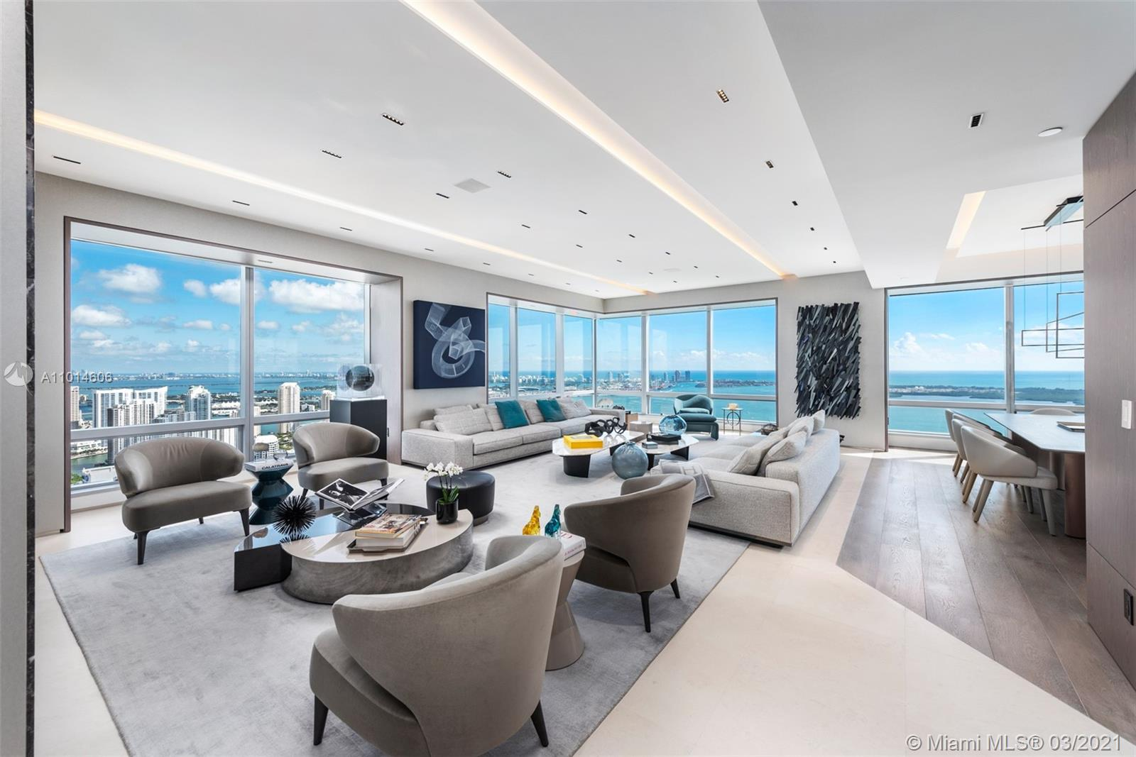 Stunning Four Seasons Residence on the 59th Floor with panoramic and unobstructed views of Biscayne Bay, Ocean, City of Miami, Key Biscayne and Fisher Island.  This combined E/D residence embodies 4,471 sf of high quality finishes throughout, a wine cellar perfect for a wine connoisseur, kitchen suited with top-of-the-line appliances and countertop eating.  Master bedroom with endless water views, en-suite bath with separate shower and tub, and walk-in closet. Residents of Four Seasons Residences Miami enjoy 5-star upscale amenities and services, including two heated pools, a hot tub, poolside cabanas, an owner's lounge, memberships to Equinox which includes a state-of-the-art fitness center and a full-service spa, 24-hour valet parking service, room service, and full-service concierge.